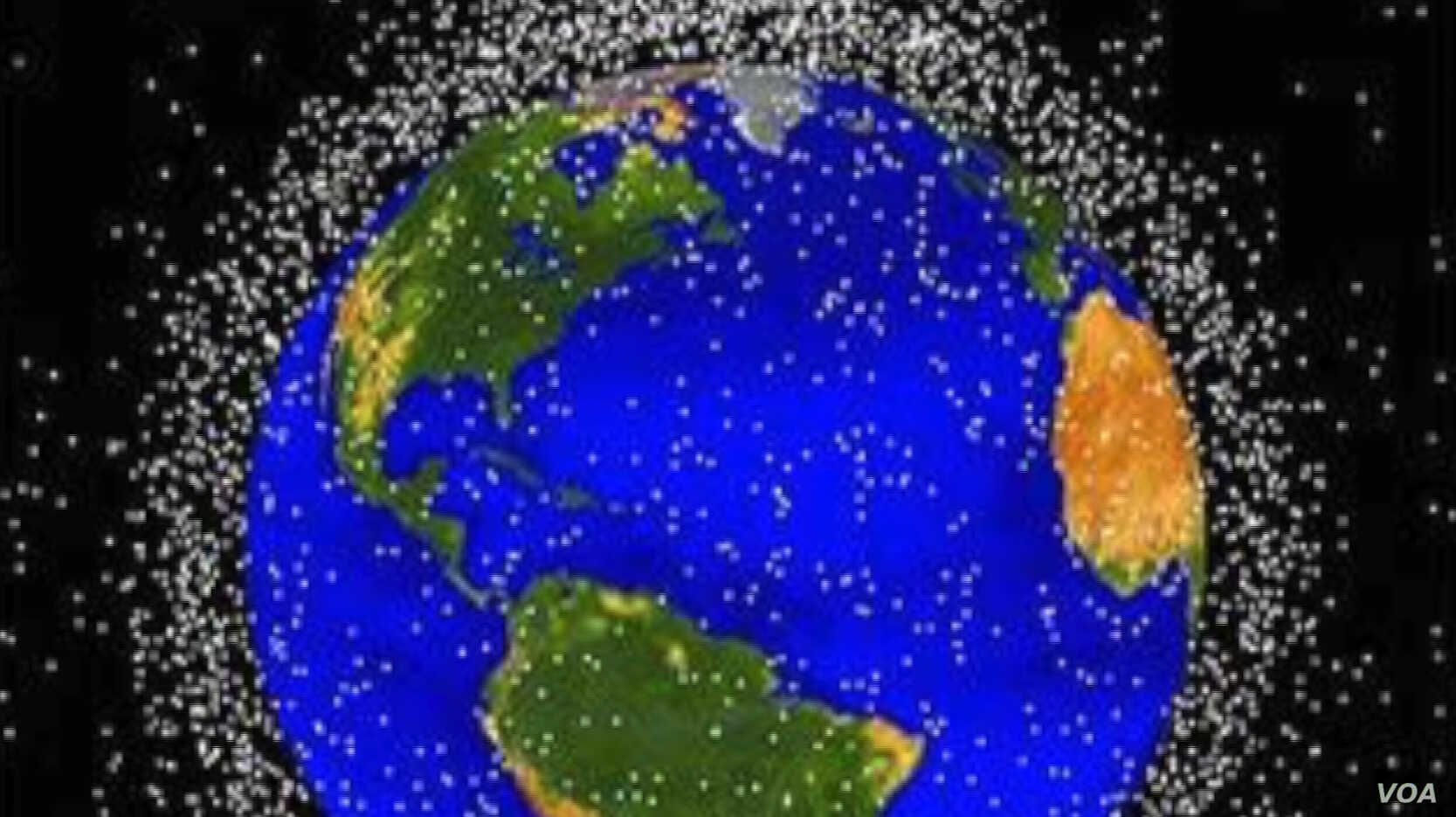 NASA tracks more than 500,000 pieces of space debris as they orbit the Earth, each represented here by a dot.