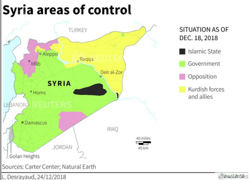 Syria areas of control, Dec. 18, 2018. (Carter Center; Natural Earth)