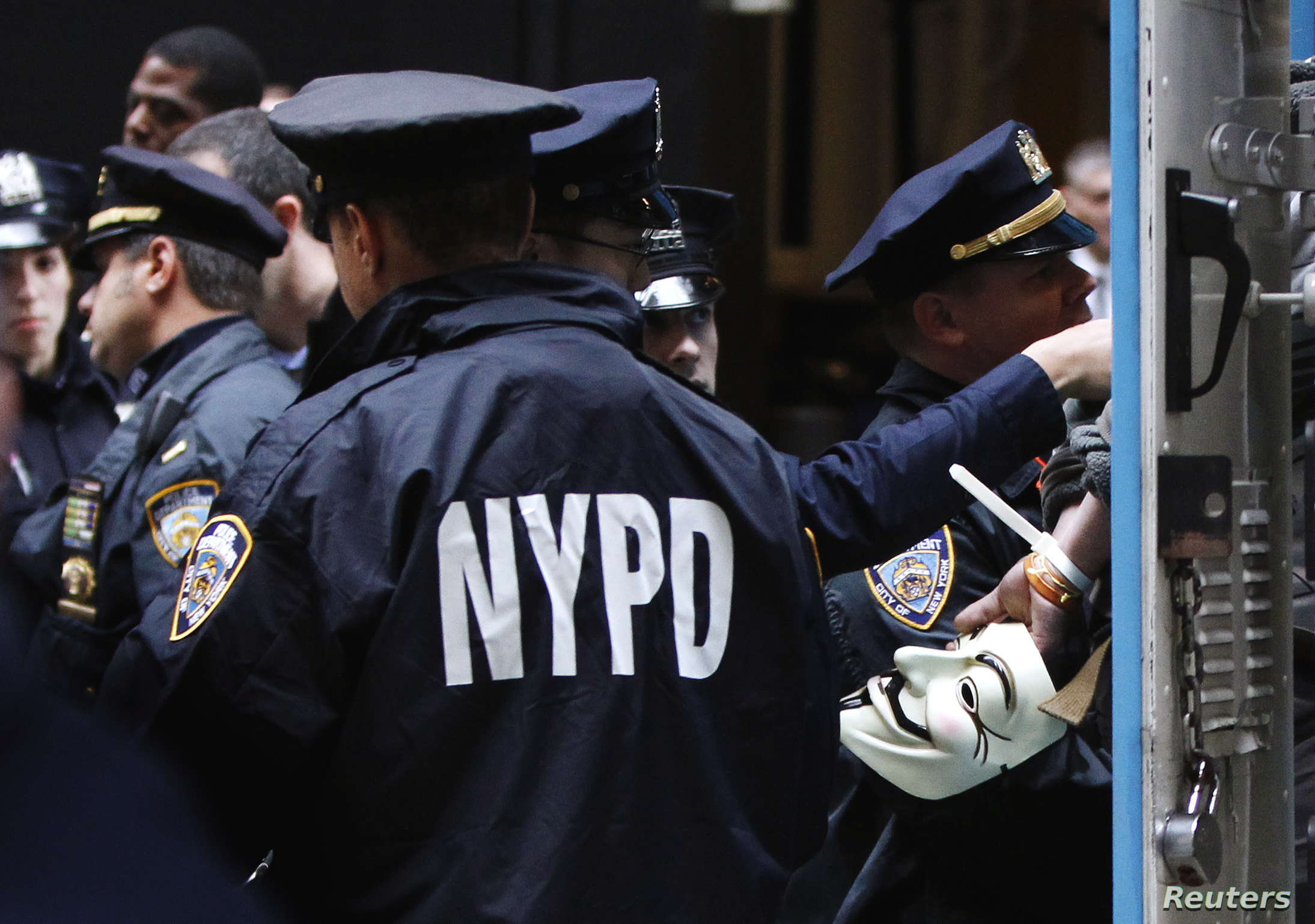 FILE - New York Police Department (NYPD) officers are seen on hand during a protest.