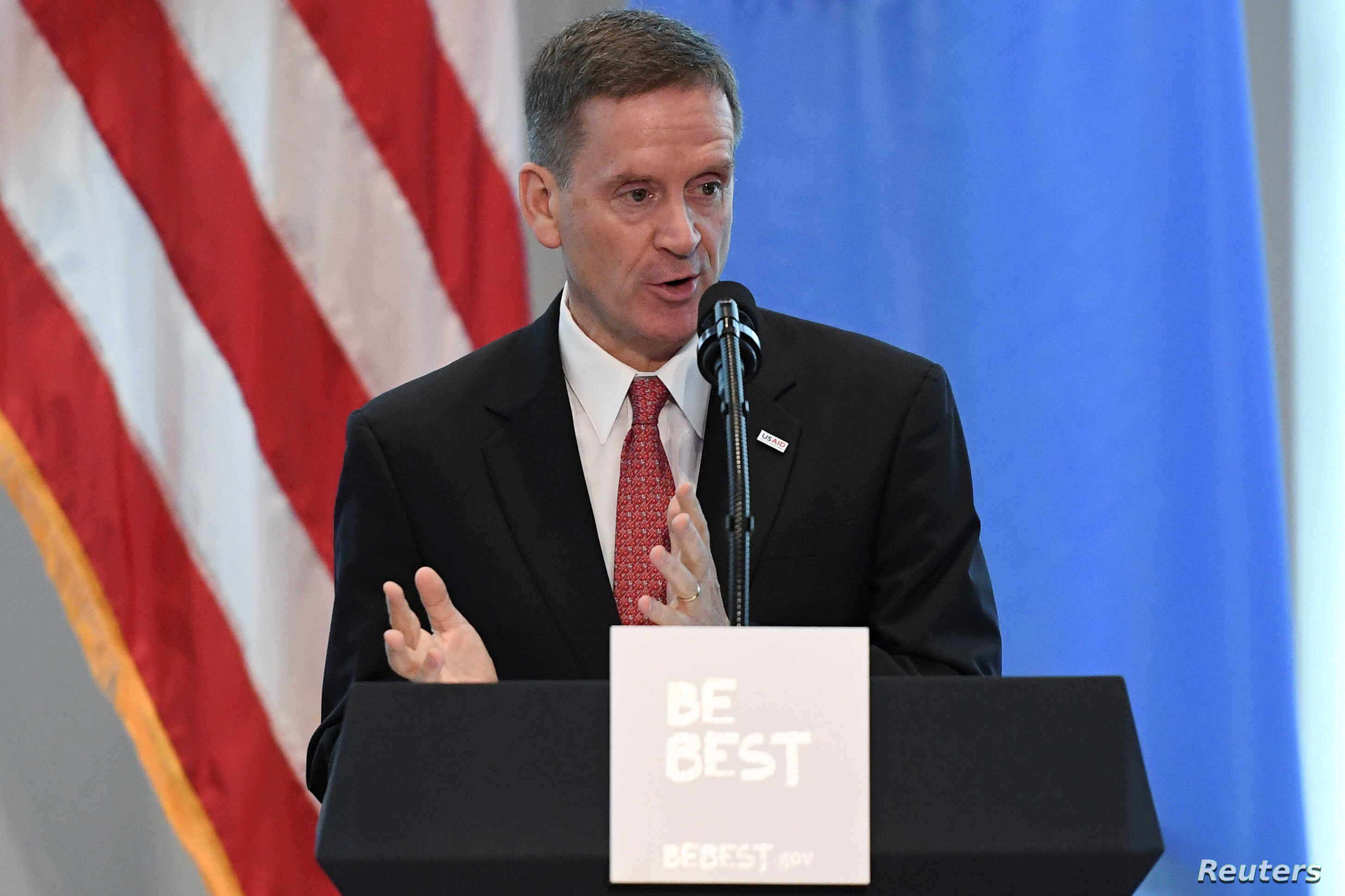 "USAID administrator Mark Green introduces U.S. first lady Melania Trump at a reception on her initiative ""Be Best"" at the United States mission to the U.N. on the sidelines of the United Nations General Assembly in New York City, Sept. 26, 2018."
