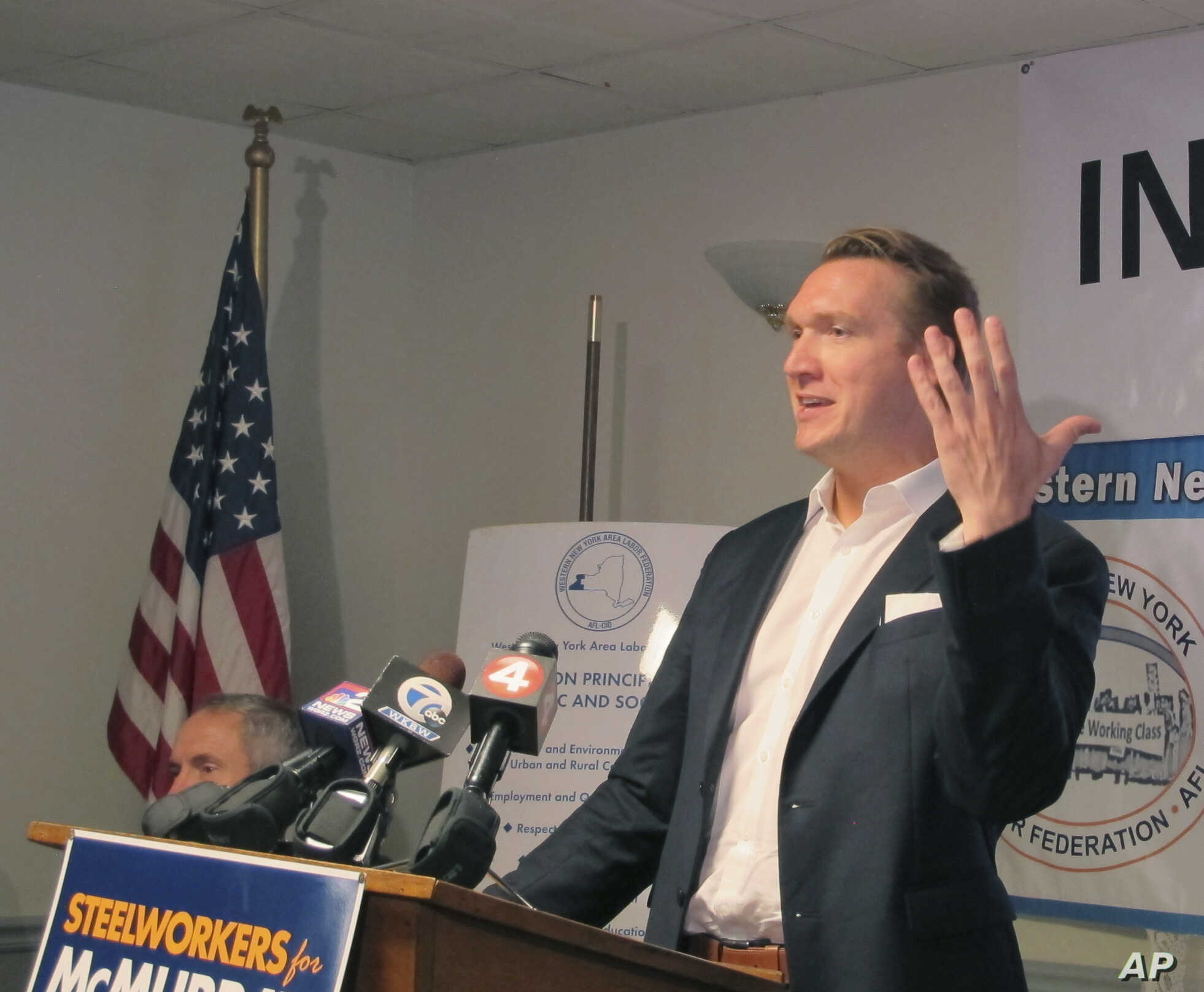 Democratic congressional candidate Nate McMurray speaks to union members at United Steelworkers Local 2603 in Blasdell, N.Y., Oct. 11, 2018.