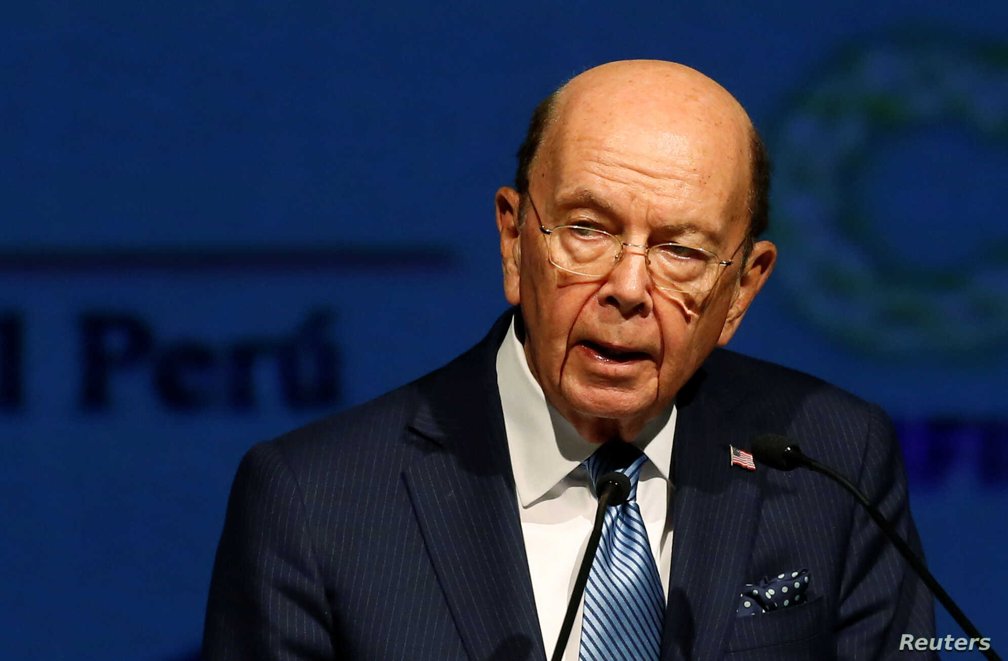 U.S. Commerce Secretary Wilbur Ross delivers a speech during the Americas Business Summit in Lima, Peru, April 12, 2018.