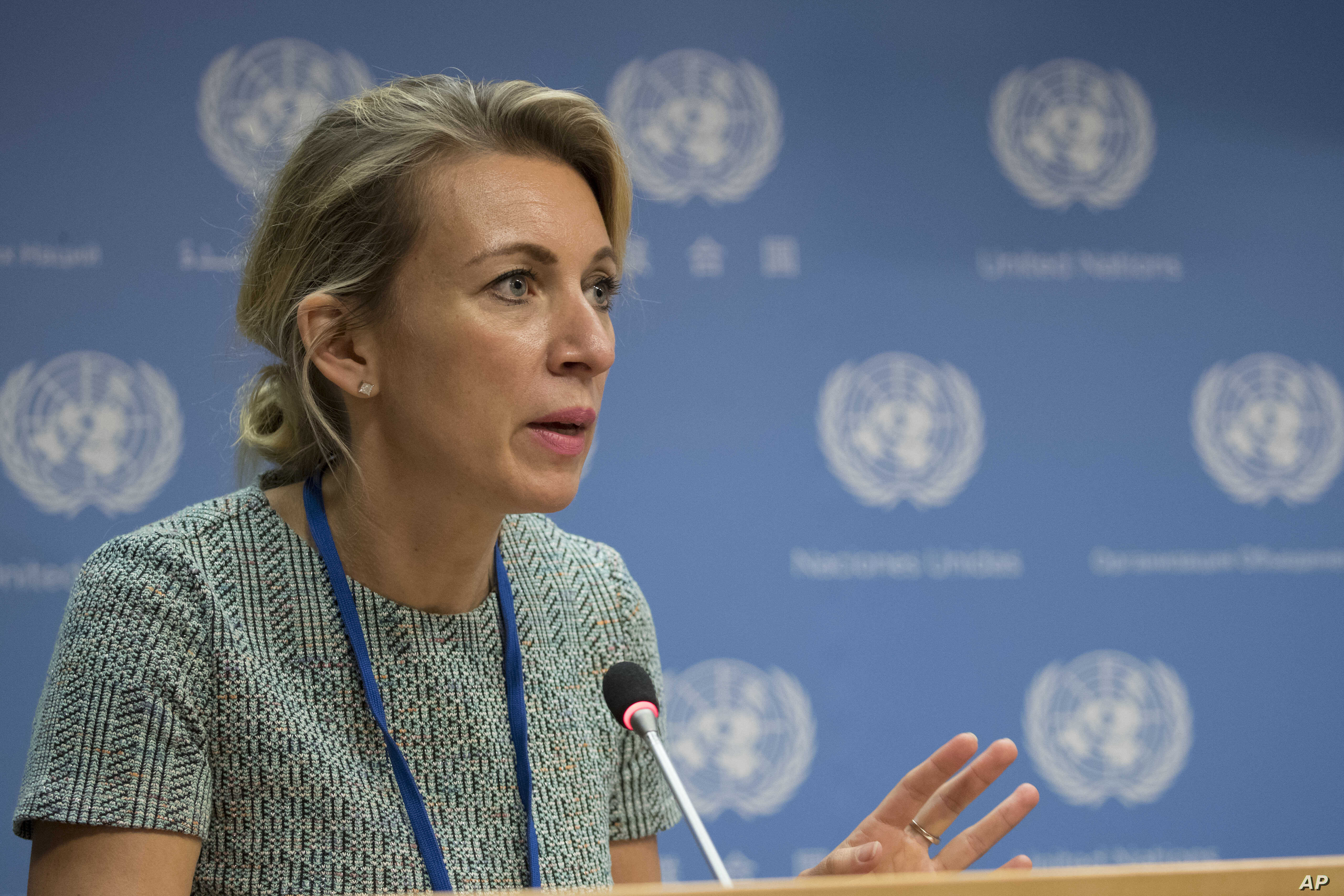 FILE - Russian Foreign Ministry spokesperson Maria Zakharova speaks during a news conference at United Nations headquarters, Sept. 22, 2017.