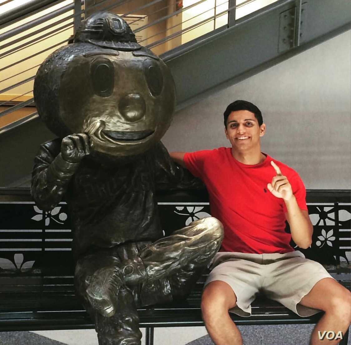 Tarek Saoud, now 22, in a photo taken at Ohio State University on the day he decided which college to attend. (Photo courtesy of Tarek Saoud)