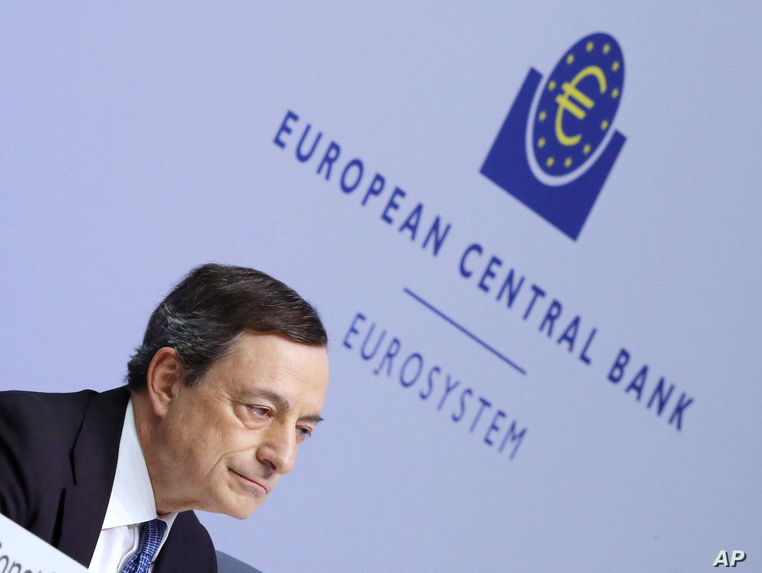 President of European Central Bank Mario Draghi  speaks during a  press conference following a meeting of the governing council in Frankfurt, Germany, March 10, 2016.