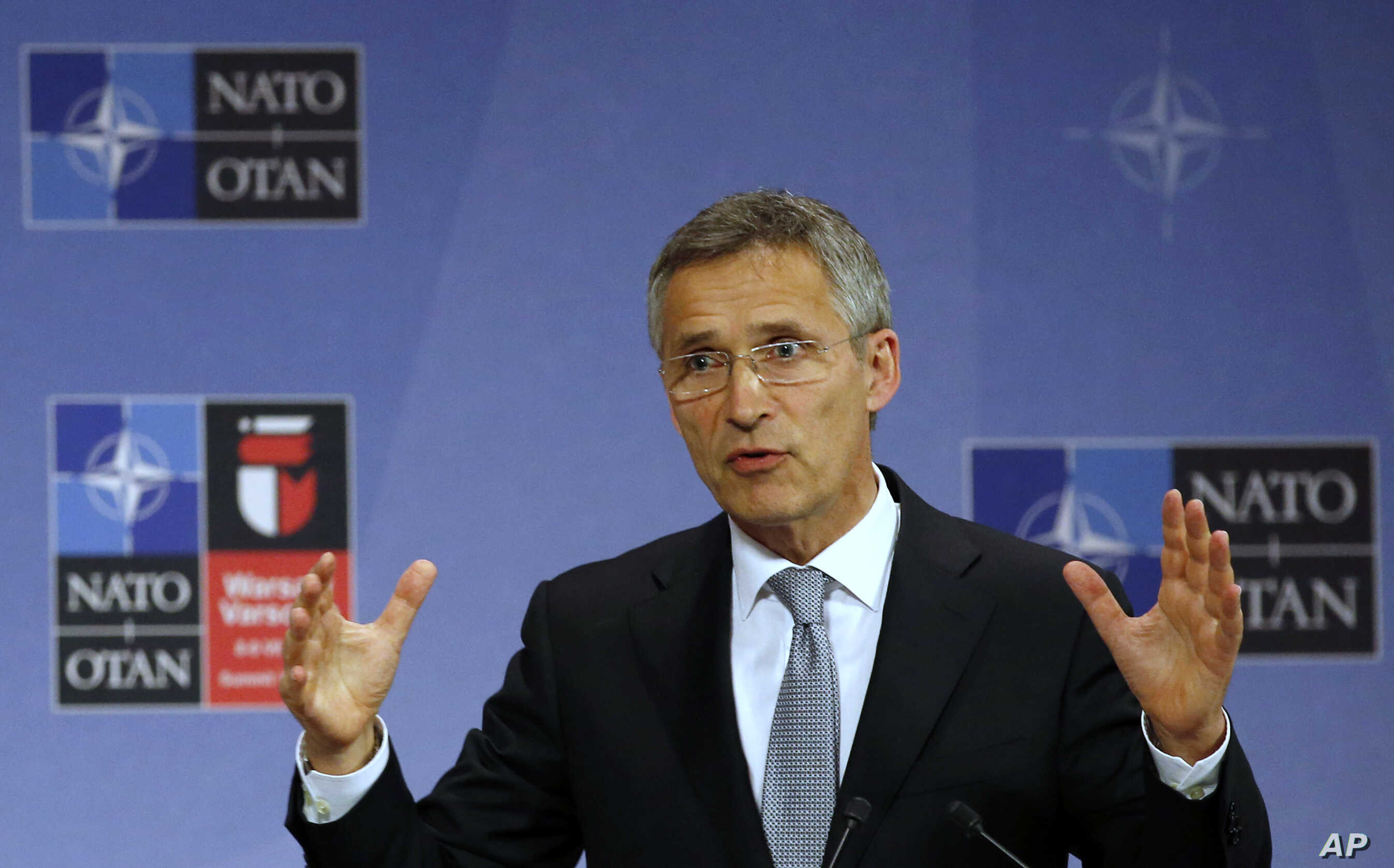 FILE - NATO Secretary General Jens Stoltenberg speaks during a news conference at NATO headquarters in Brussels, Belgium.