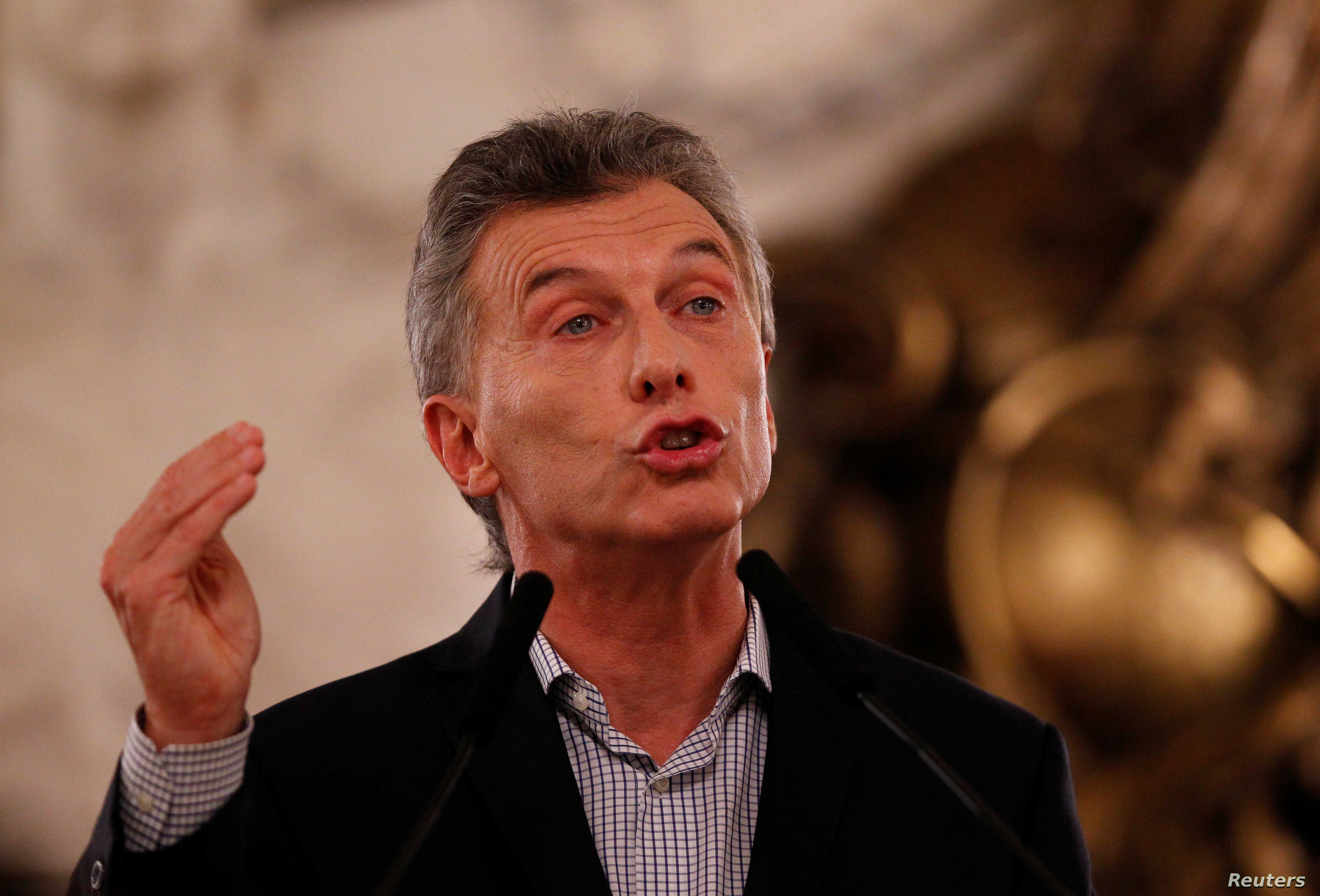 Argentina's President Mauricio Macri addresses the media during a news conference in Buenos Aires, Feb. 16, 2017.