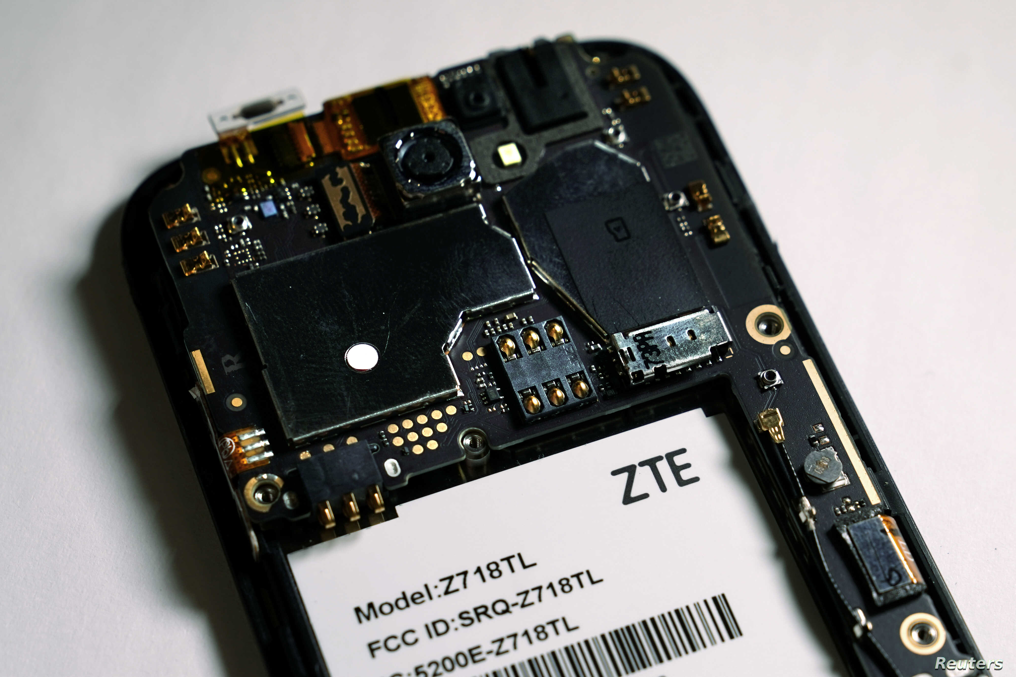 FILE - The inside of a ZTE smart phone is pictured in this illustration taken April 17, 2018.