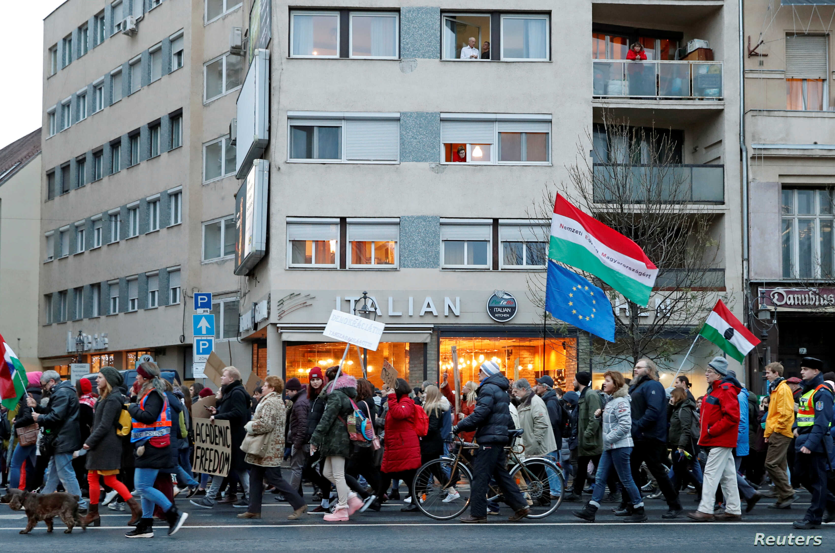 FILE - People attend a rally for the Soros-founded Central European University in Budapest, Hungary, Nov. 24, 2018.