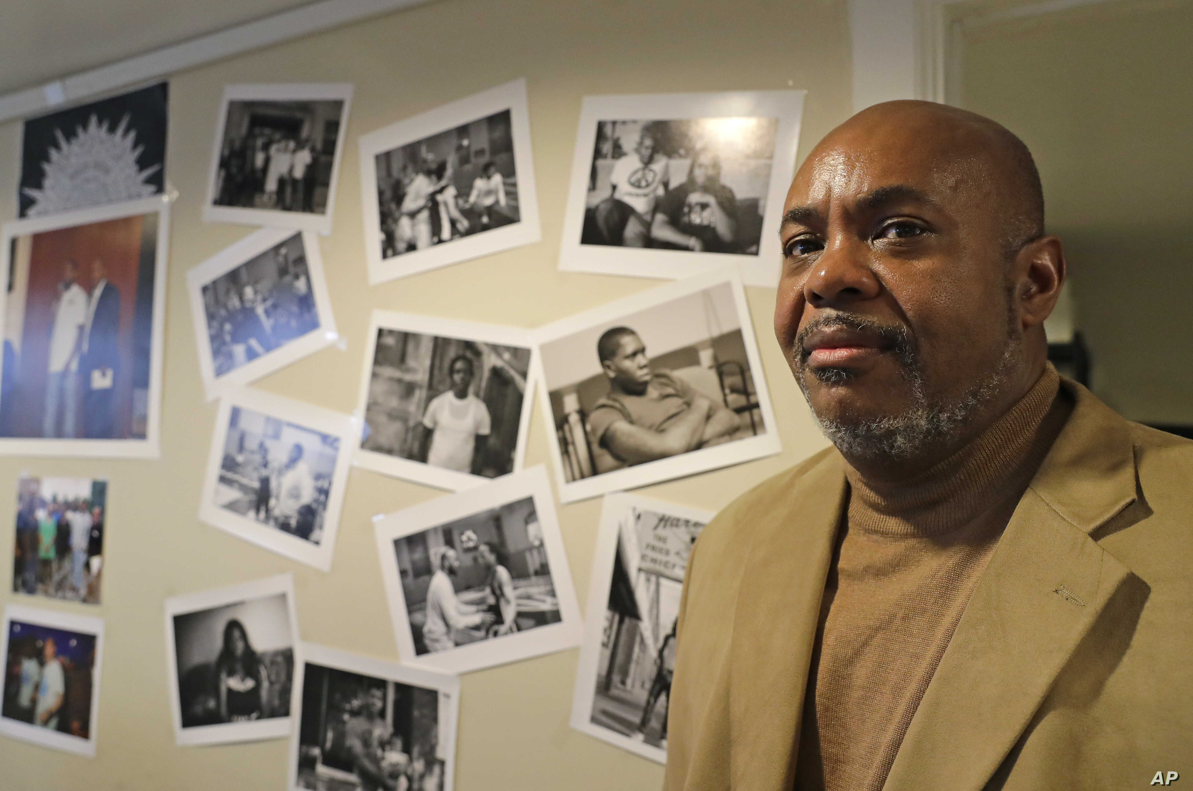 Tommie Bosley stands for a portrait in his office in Chicago, Nov. 9, 2018. Bosley, a former banker, heads Strong Futures, a jobs-mentoring program at St. Sabina for young adults, many with criminal pasts, who are now looking to get a new start on li...