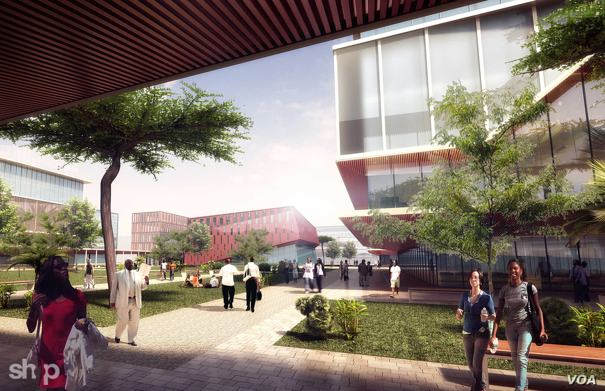 An artist's rendering shows the concept of a university area in the Konza Technopolis, Kenya.