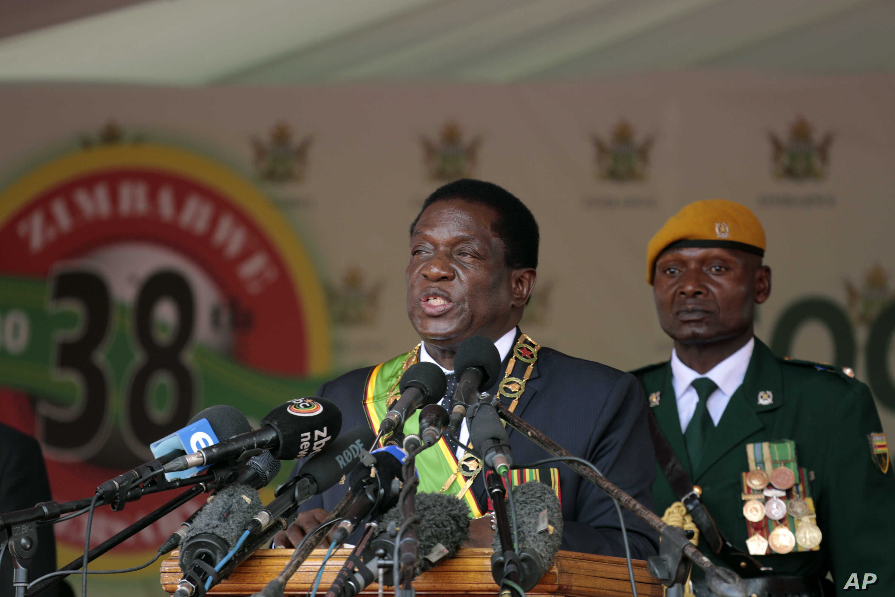 Zimbabwe's President Emmerson Mnangagwa delivers his speech during the 38th anniversary of Independence celebrations at the National Sports Staduim in Harare, April, 18, 2018.
