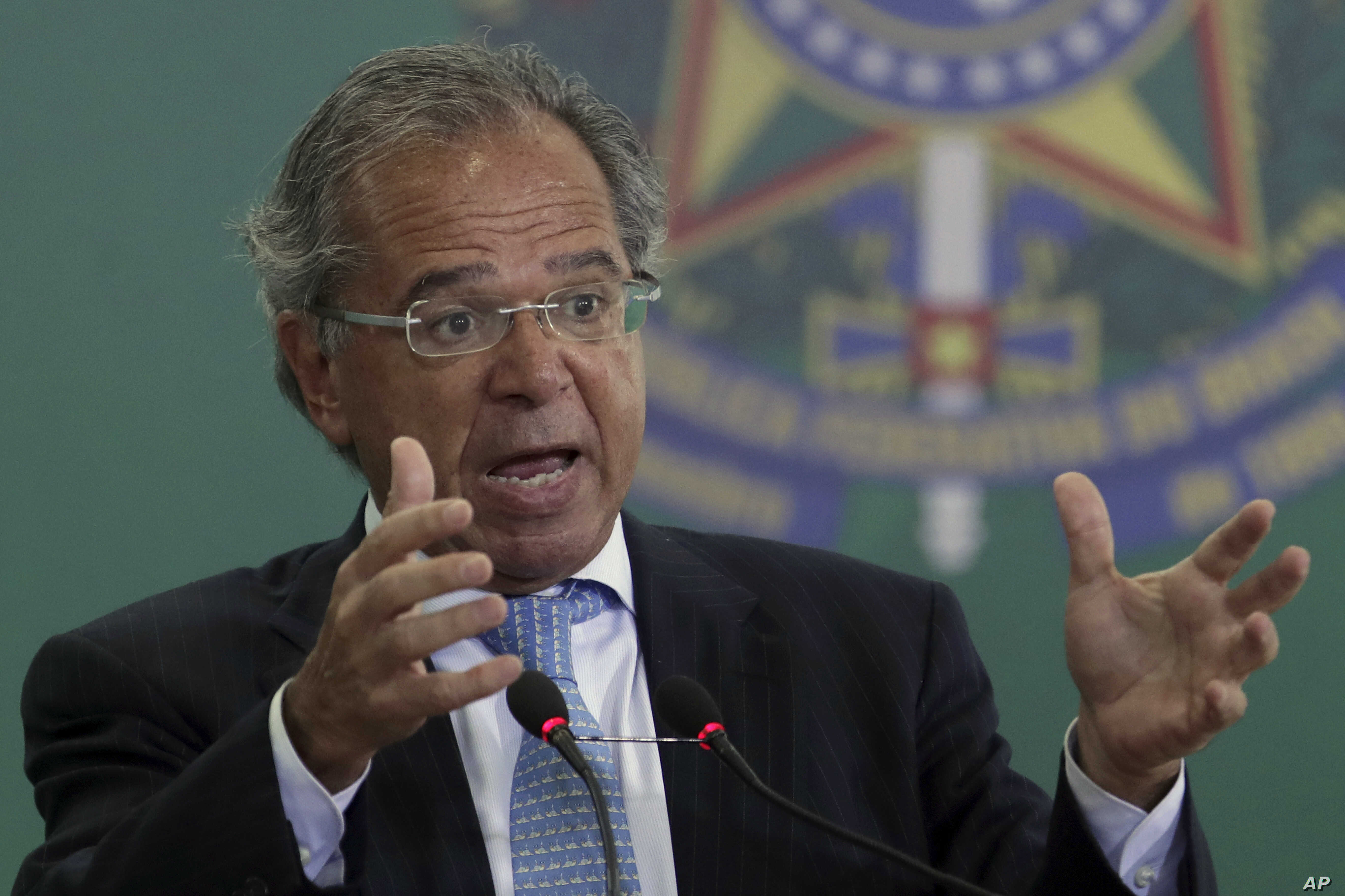 Brazil's Economy Minister Paulo Guedes speaks during a ceremony at Planalto presidential palace in Brasilia, Brazil, Jan. 7, 2019.