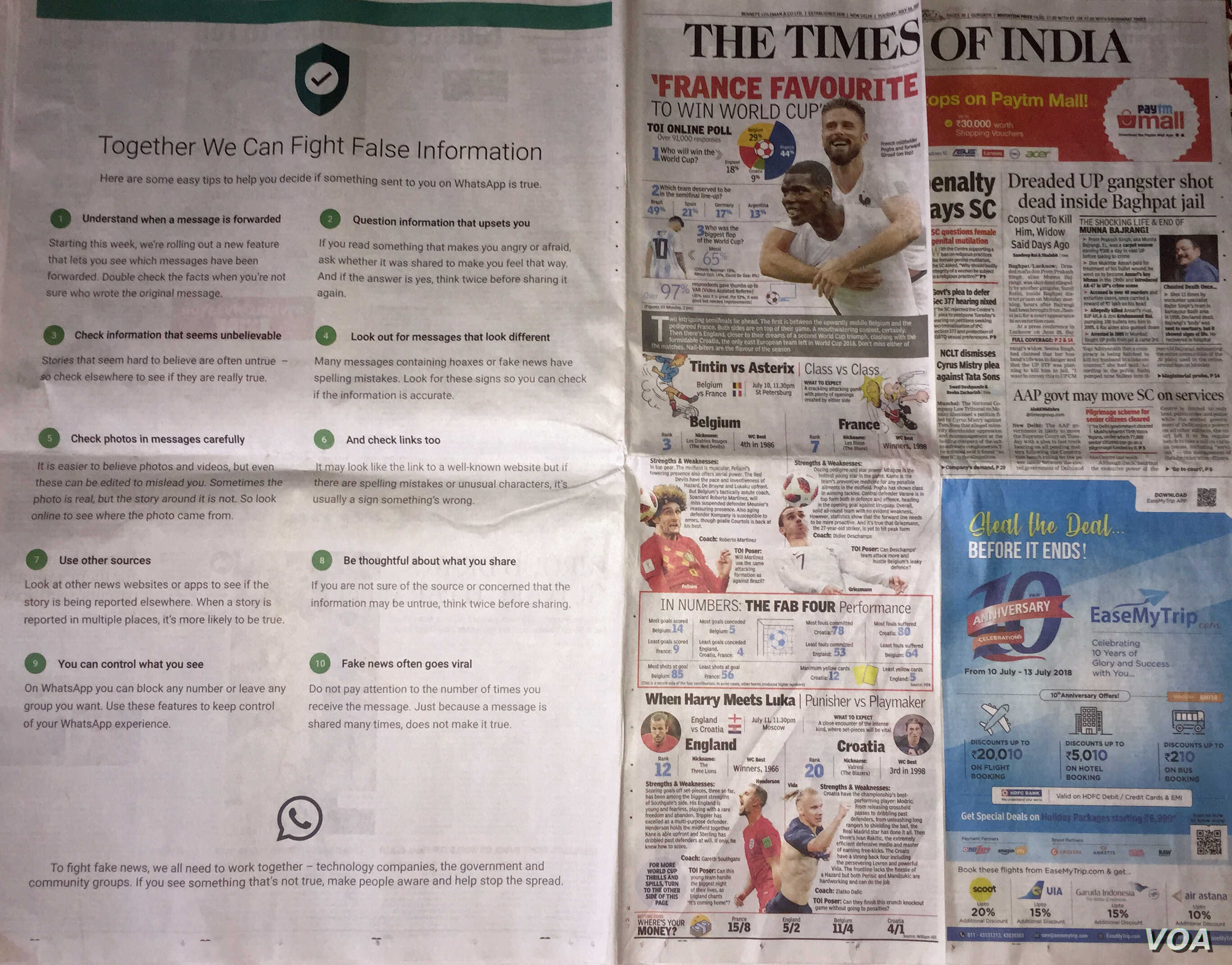 WhatsApp published full page advertisements in prominent newspapers giving 10 tips on how to fight false information.