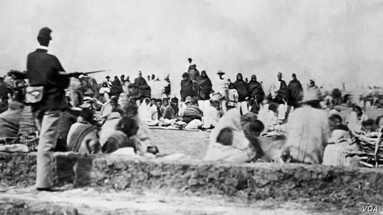 Navajos under guard at Fort Sumner, built by the U.S. Army to watch over the Navajo camp at Bosque Redondo, ca. 1864.