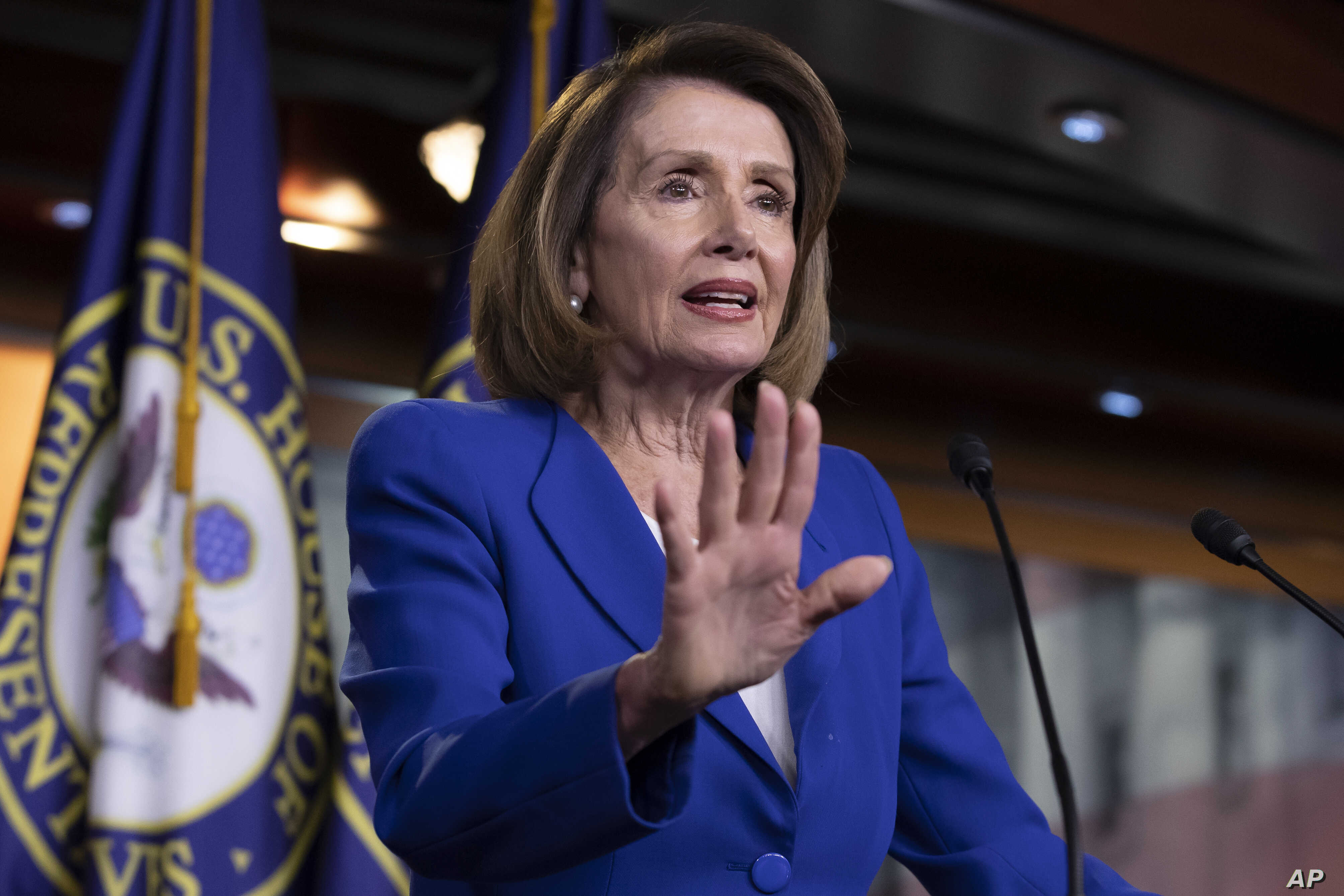 Speaker of the House Nancy Pelosi talks to reporters during a news conference at the Capitol in Washington, Jan. 31, 2019.