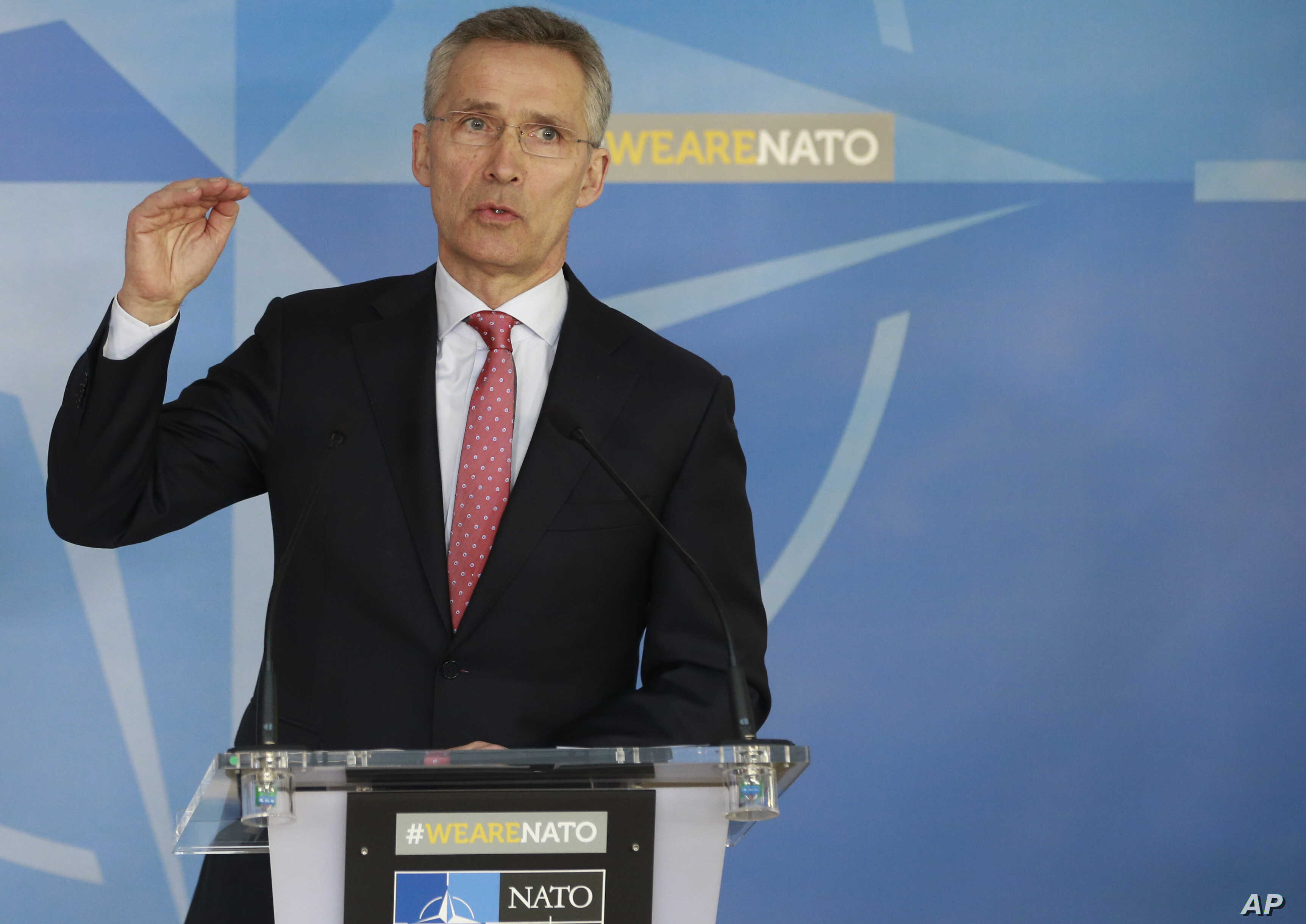 NATO Secretary General Jens Stoltenberg speaks during a media conference at NATO headquarters in Brussels on March 27, 2018.