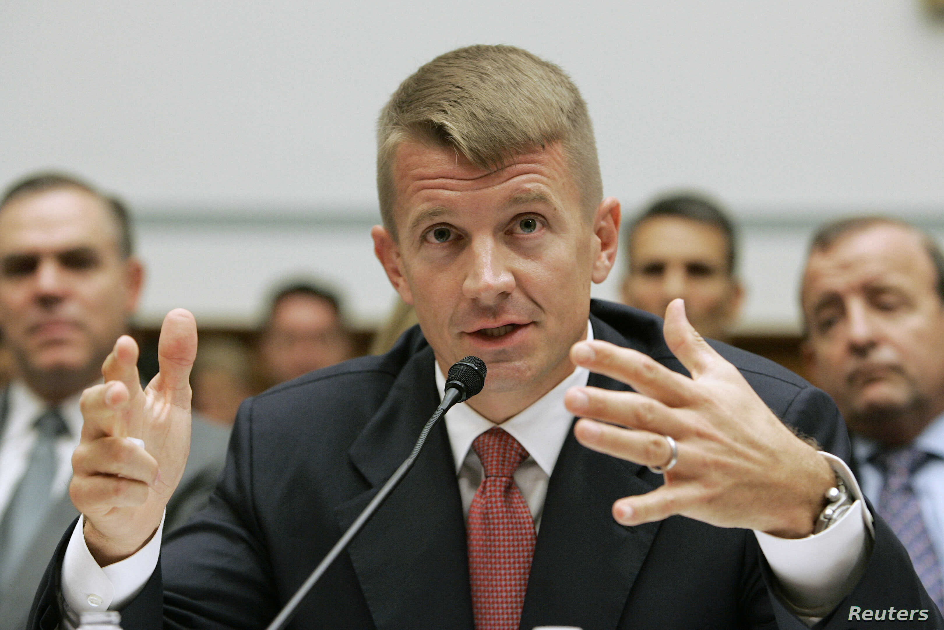 FILE - Blackwater USA Chief Executive Erik Prince testifies before the House Oversight and Government Reform Committee on security contracting in Iraq and Afghanistan on Capitol Hill in Washington, Oct. 2, 2007.
