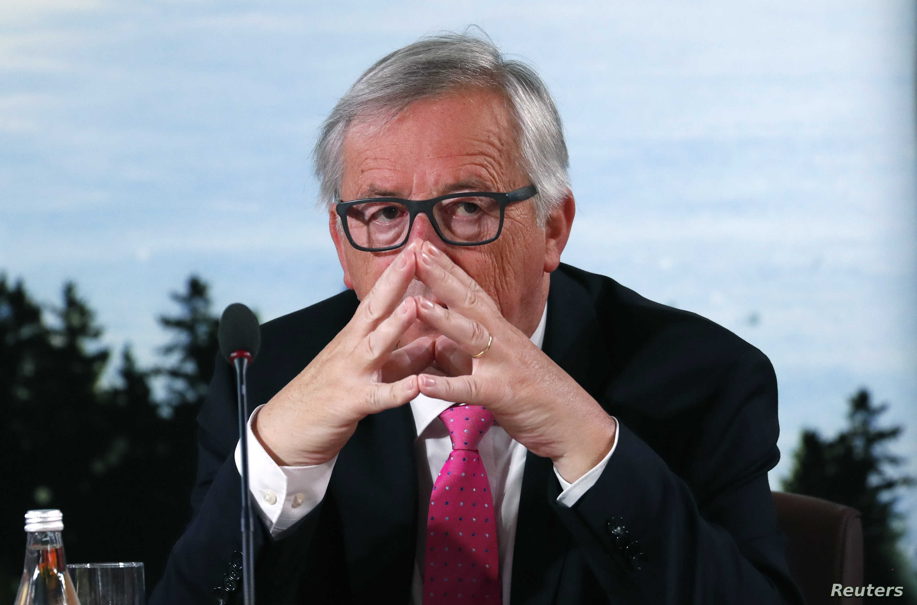 FILE - European Commission President Jean-Claude Juncker attends the G-7 summit in the Charlevoix city of La Malbaie, Quebec, Canada, June 9, 2018.