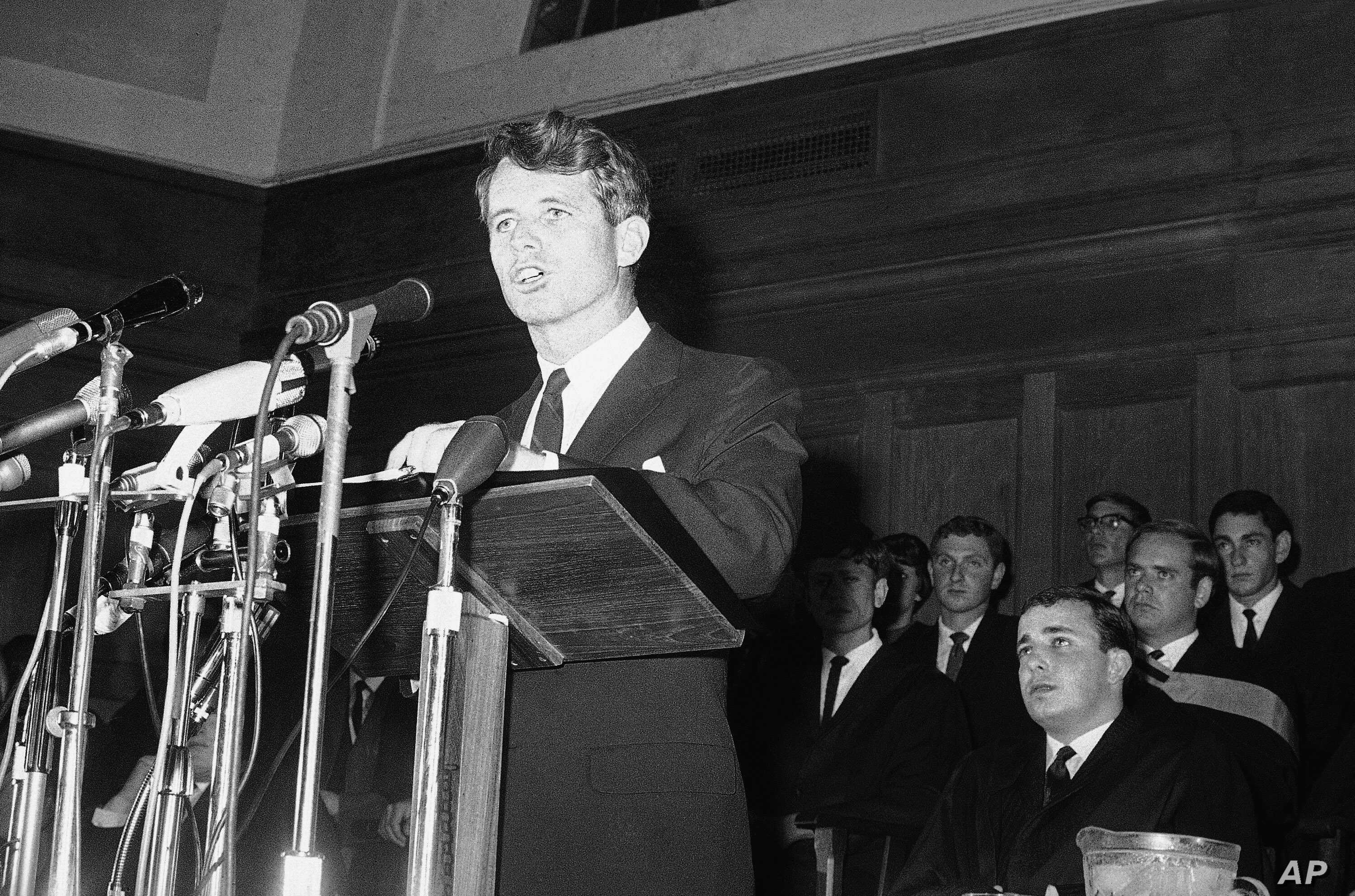 FILE - In this June 6, 1966, file photo, U.S. Senator Robert F. Kennedy, addresses students at Cape Town University, South Africa. In 1966 Kennedy traveled to apartheid South Africa to speak about equality and the rule of law. This week members of hi...