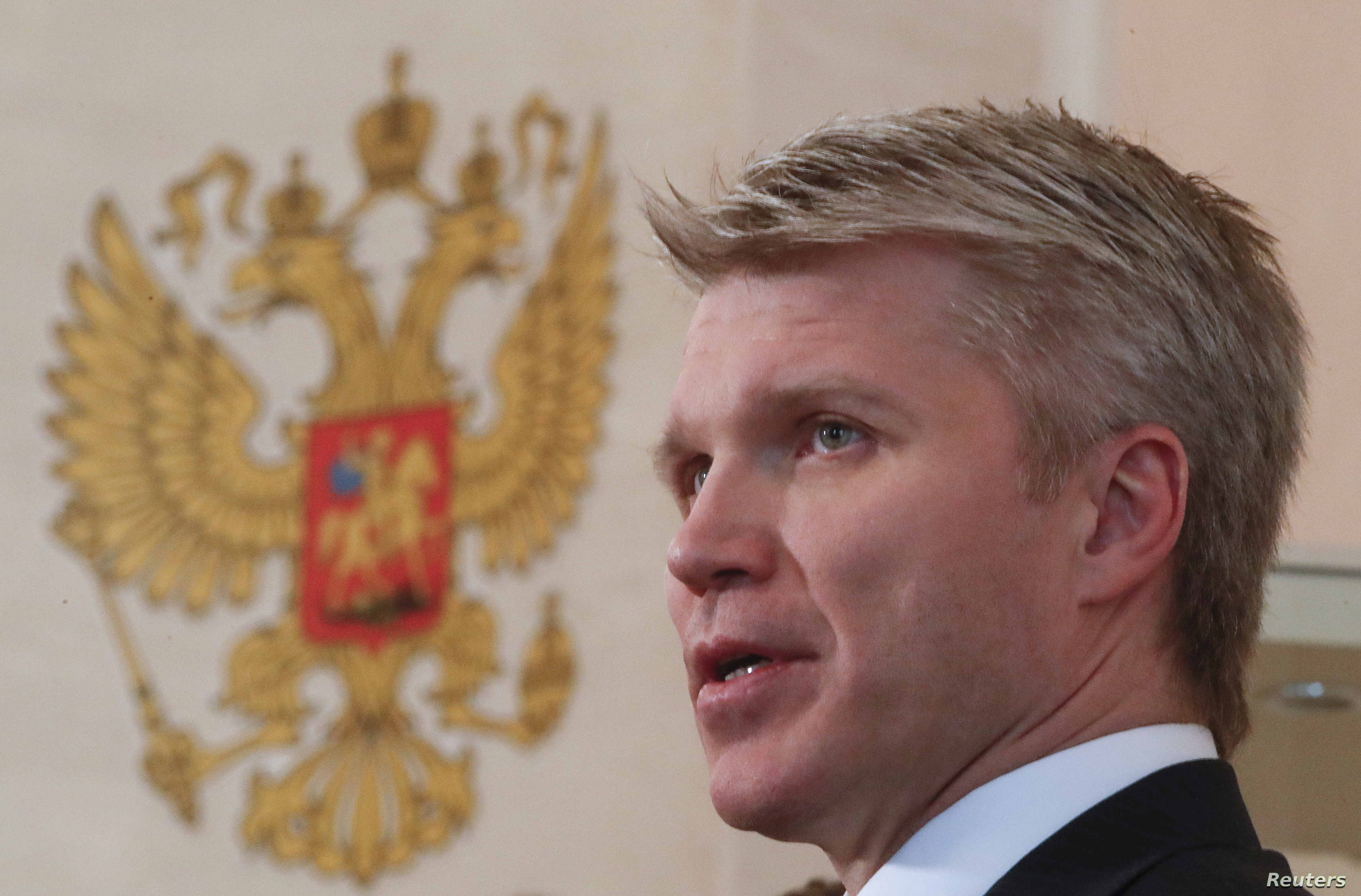 FILE - Russia's Sports Minister Pavel Kolobkov addresses the media in Moscow, Feb. 1, 2018.
