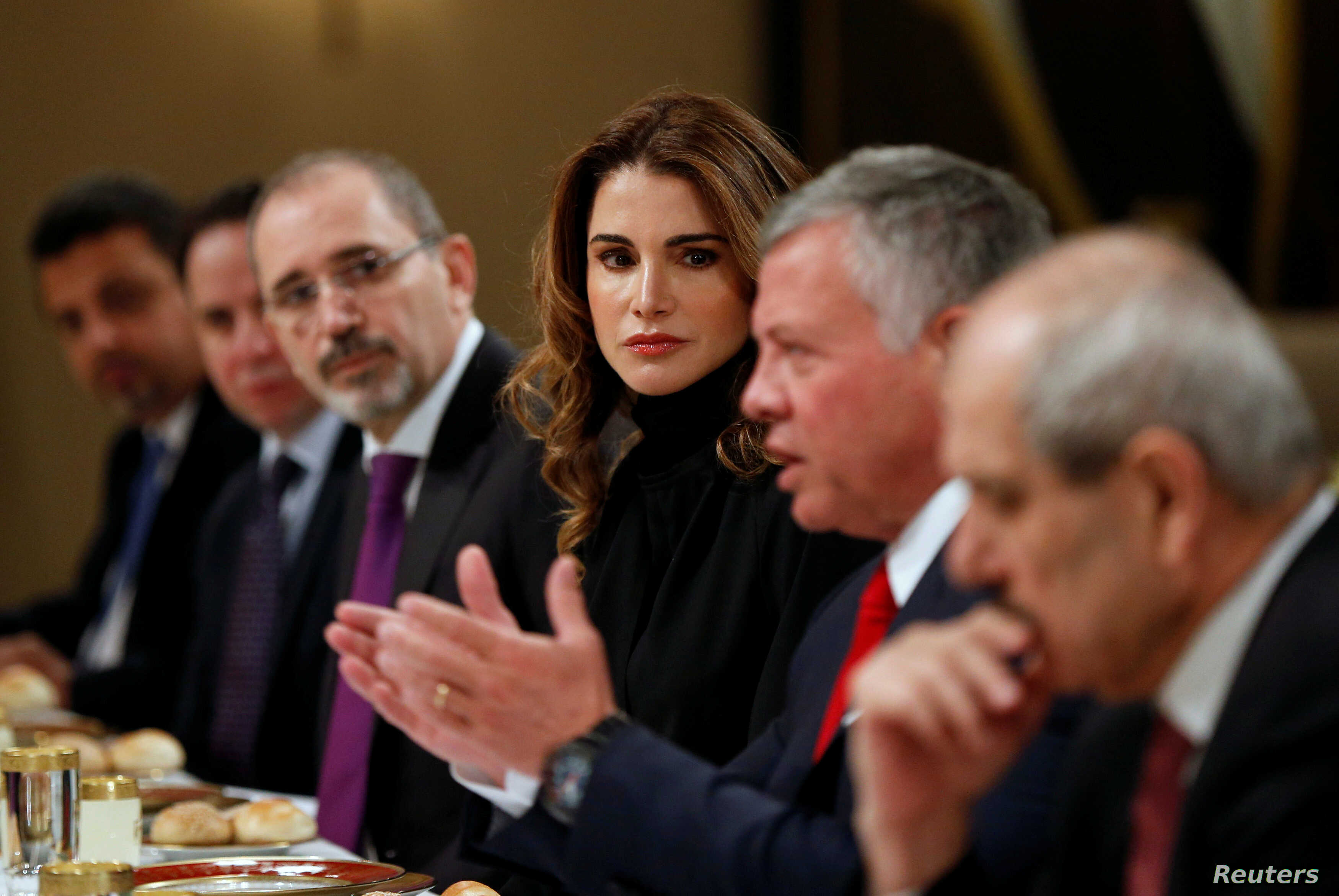 Jordan's King Abdullah and wife Queen Rania are seen during their meeting with U.S. Vice President Mike Pence and wife Karen Pence (not pictured) at the Royal Palace in Amman, Jordan, Jan. 21, 2018.