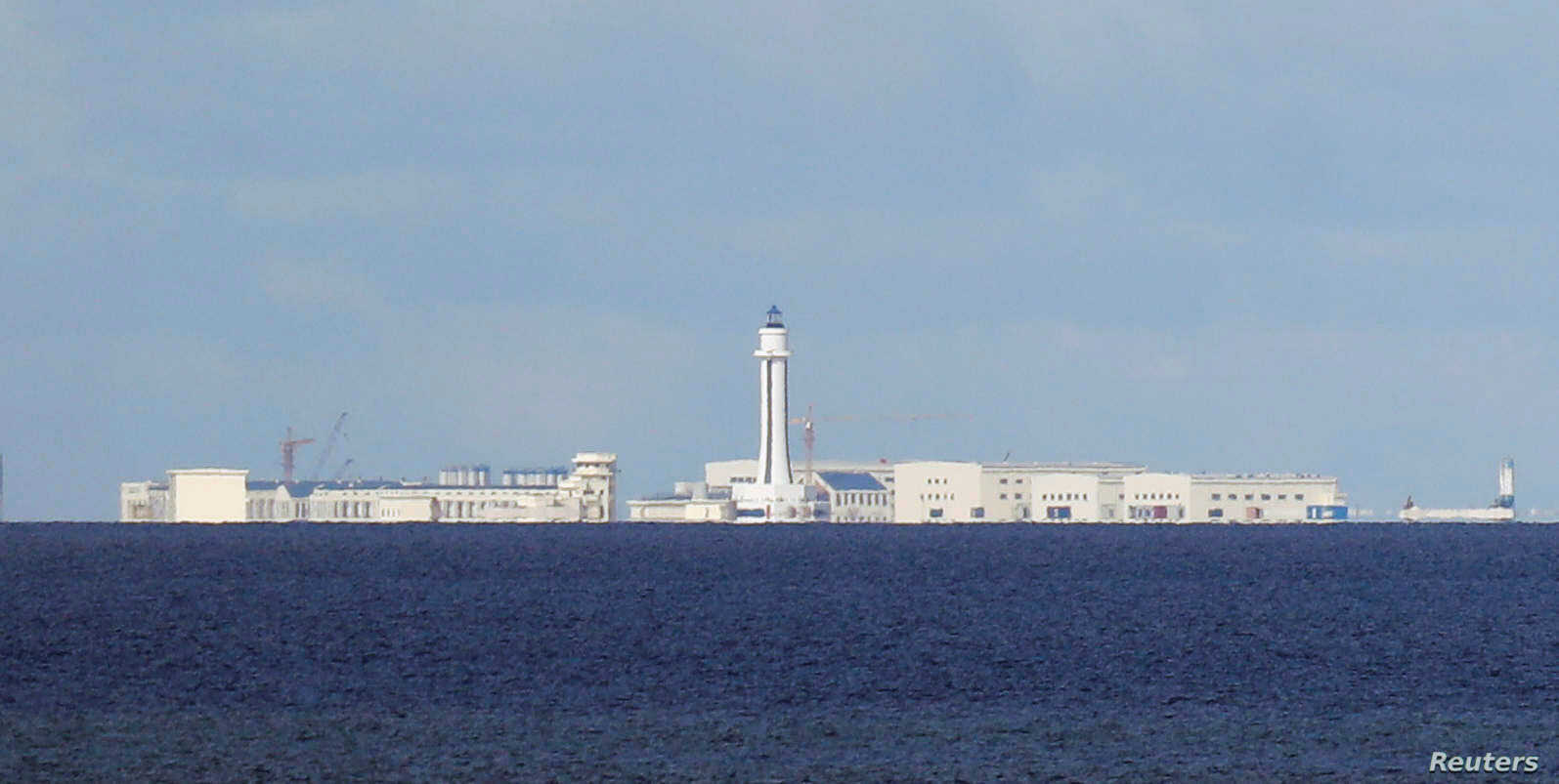 Chinese structures are pictured on the disputed Spratlys island in South China Sea, April 21, 2017.