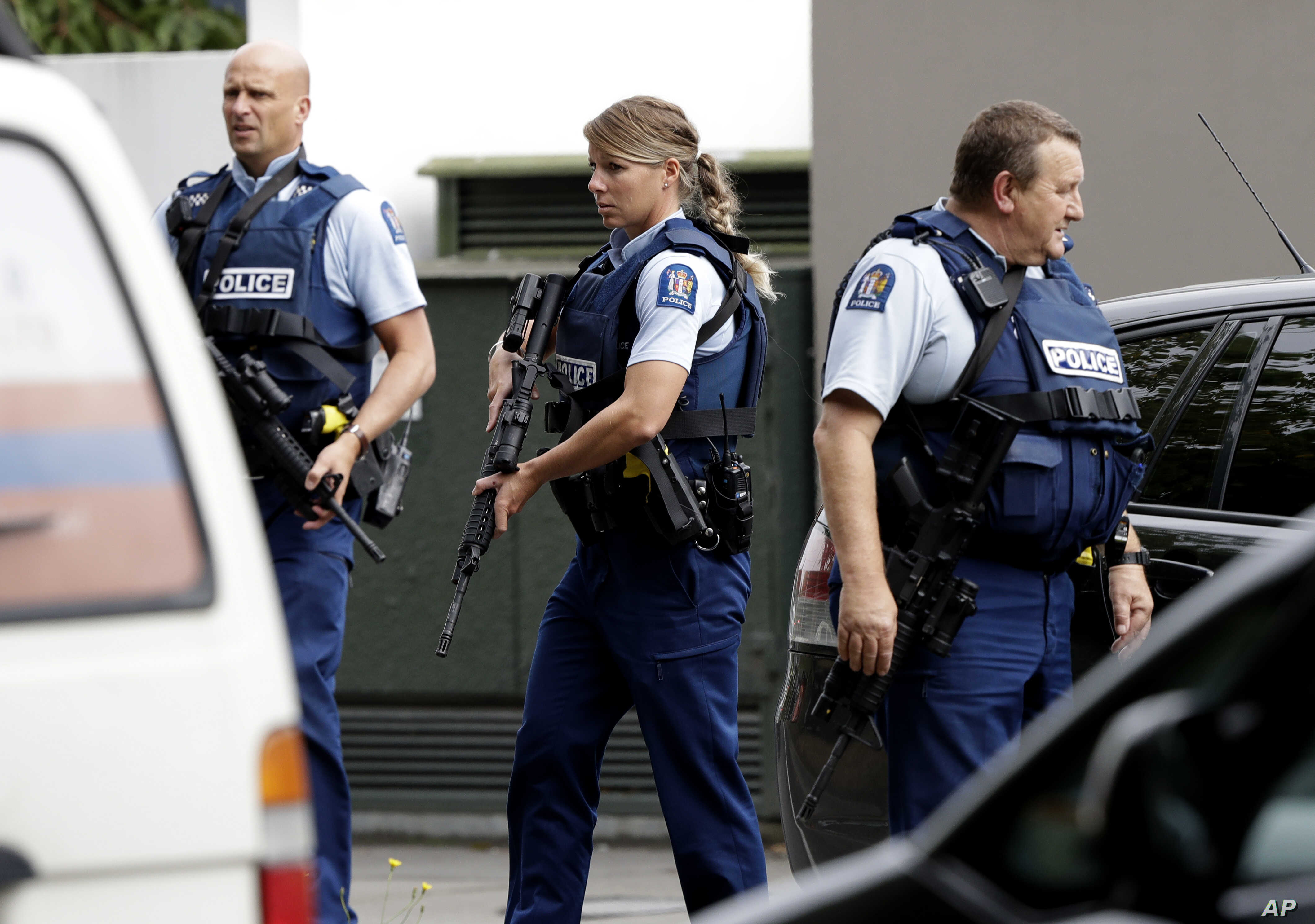 Armed police patrol outside a mosque in central Christchurch, New Zealand, March 15, 2019. A witness says many people have been killed in a mass shooting at a mosque in the New Zealand city of Christchurch.