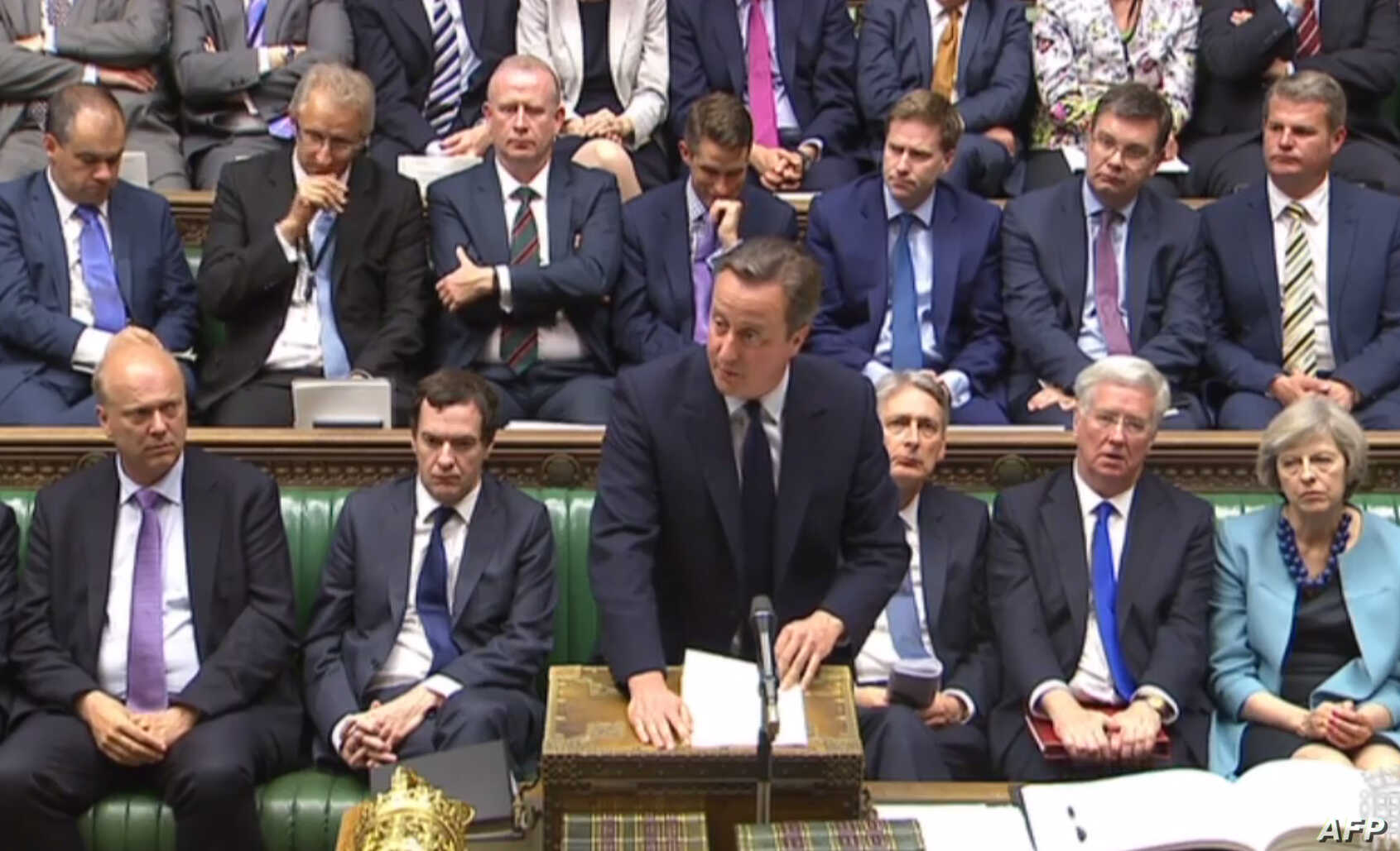 This video grab taken from footage broadcast by the UK Parliamentary Recording Unit (PRU), shows British Prime Minister David Cameron giving a statement in Parliament in London on June 27, 2016 following the EU referendum.
