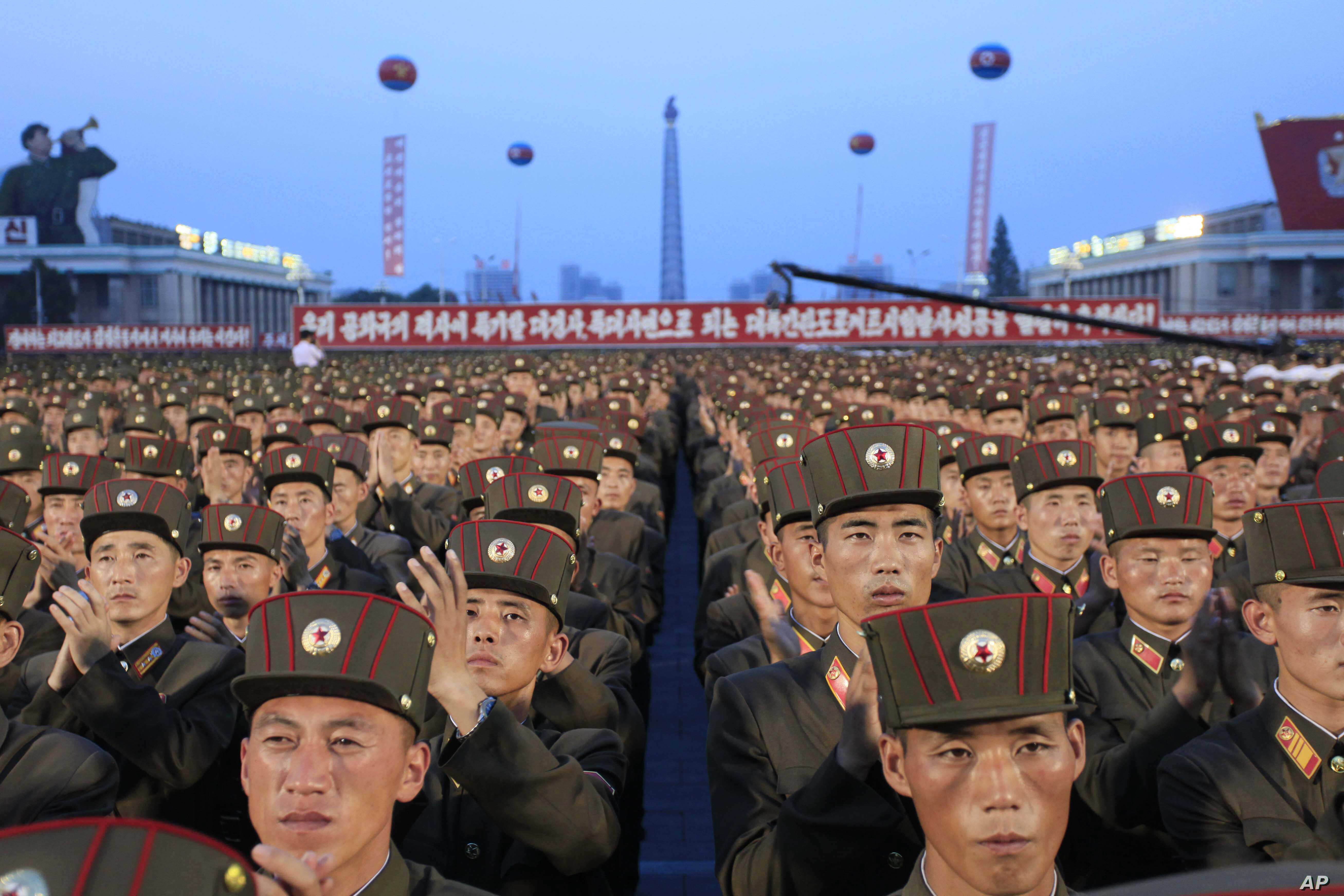 Soldiers gather in Kim Il Sung Square in Pyongyang, North Korea, July 6, 2017, to celebrate the test launch of North Korea's first intercontinental ballistic missile two days earlier.