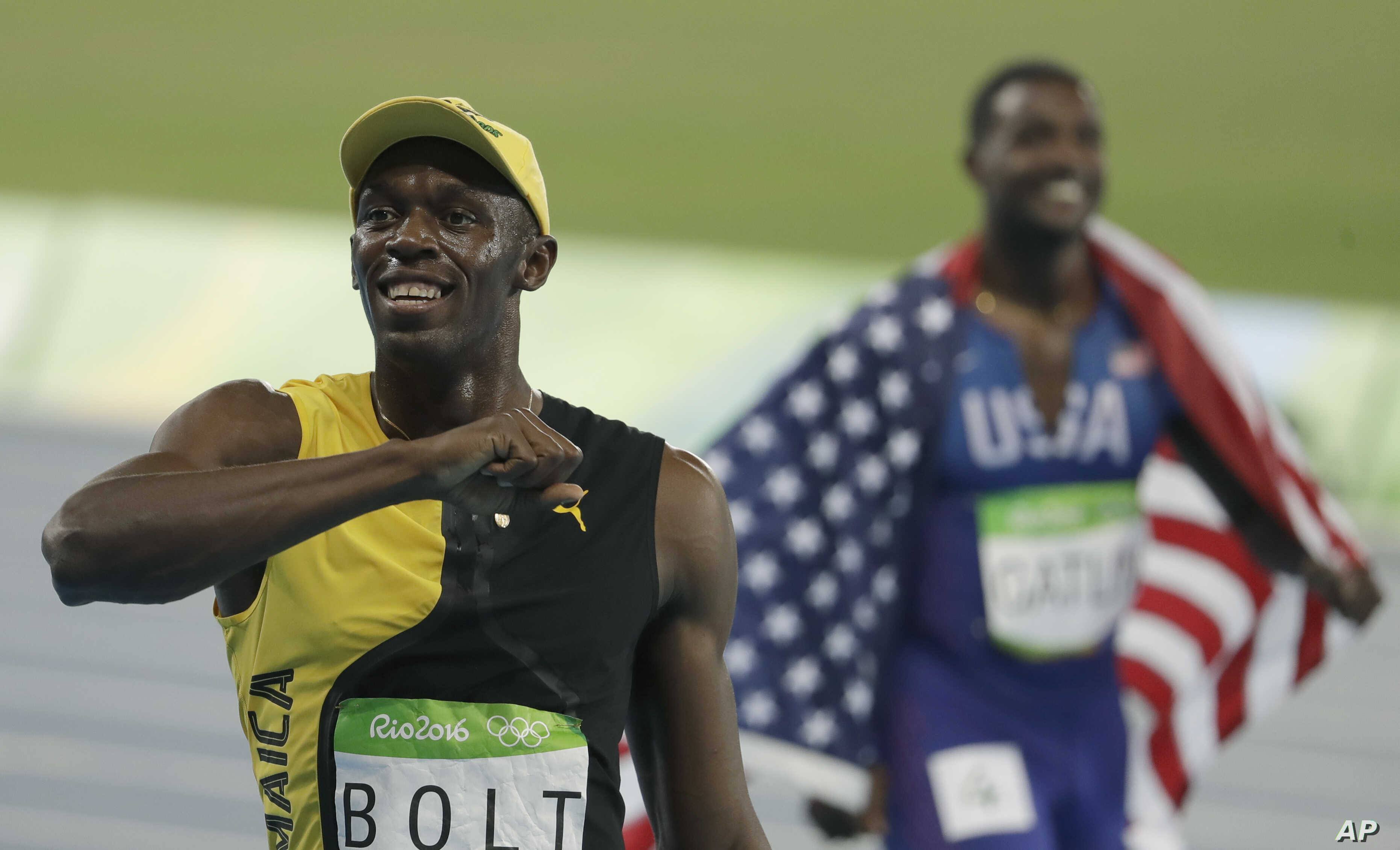 Jamaica's Usain Bolt celebrates winning the men's 100-meter final during the athletics competitions of the 2016 Summer Olympics at the Olympic stadium in Rio de Janeiro, Brazil, Aug. 14, 2016.