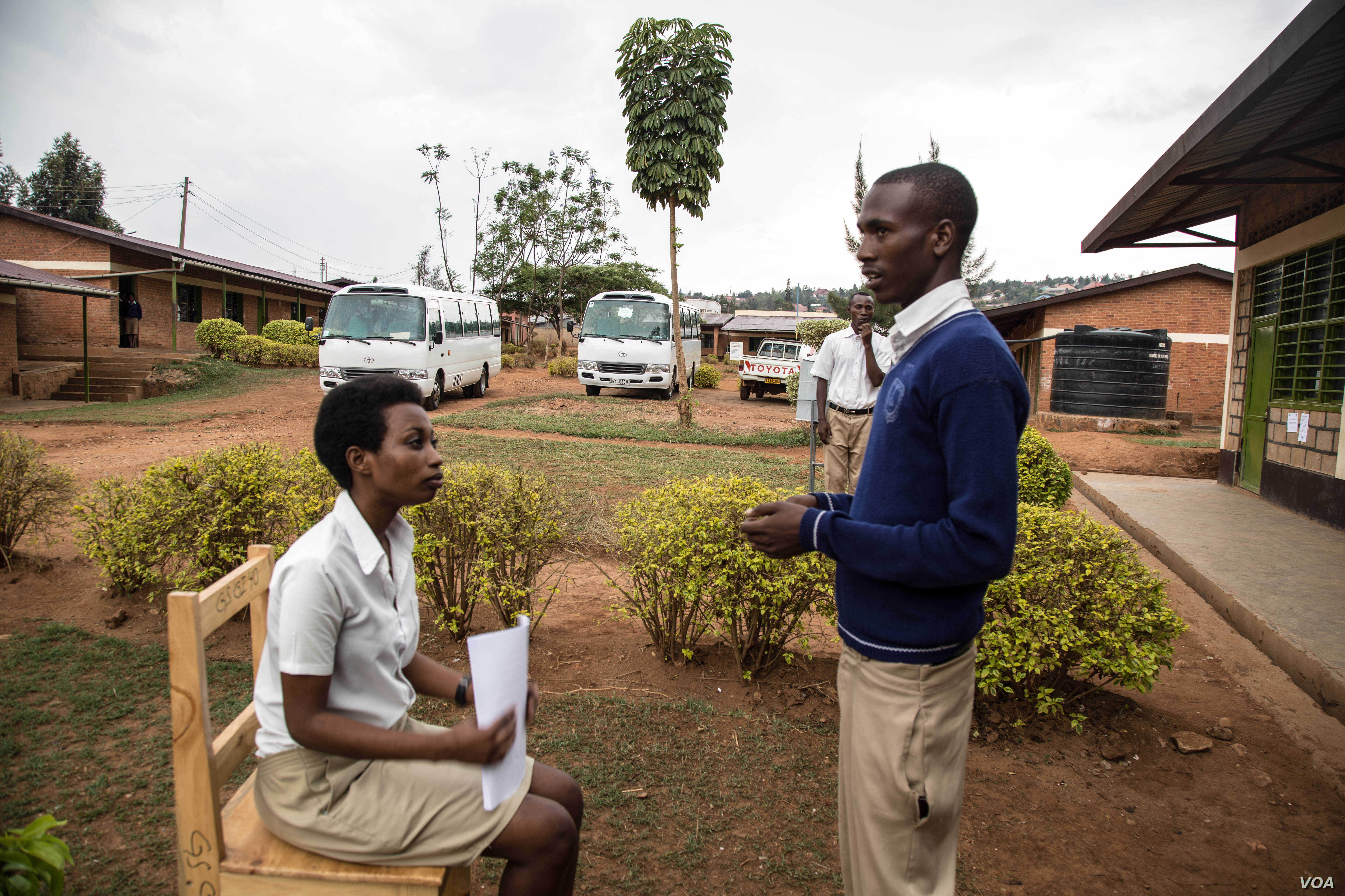 Students at a public high school in Kigali, Rwanda participate in mock job interviews as part of a soft skills and work readiness classroom program. (Photo: Chika Oduah for VOA)