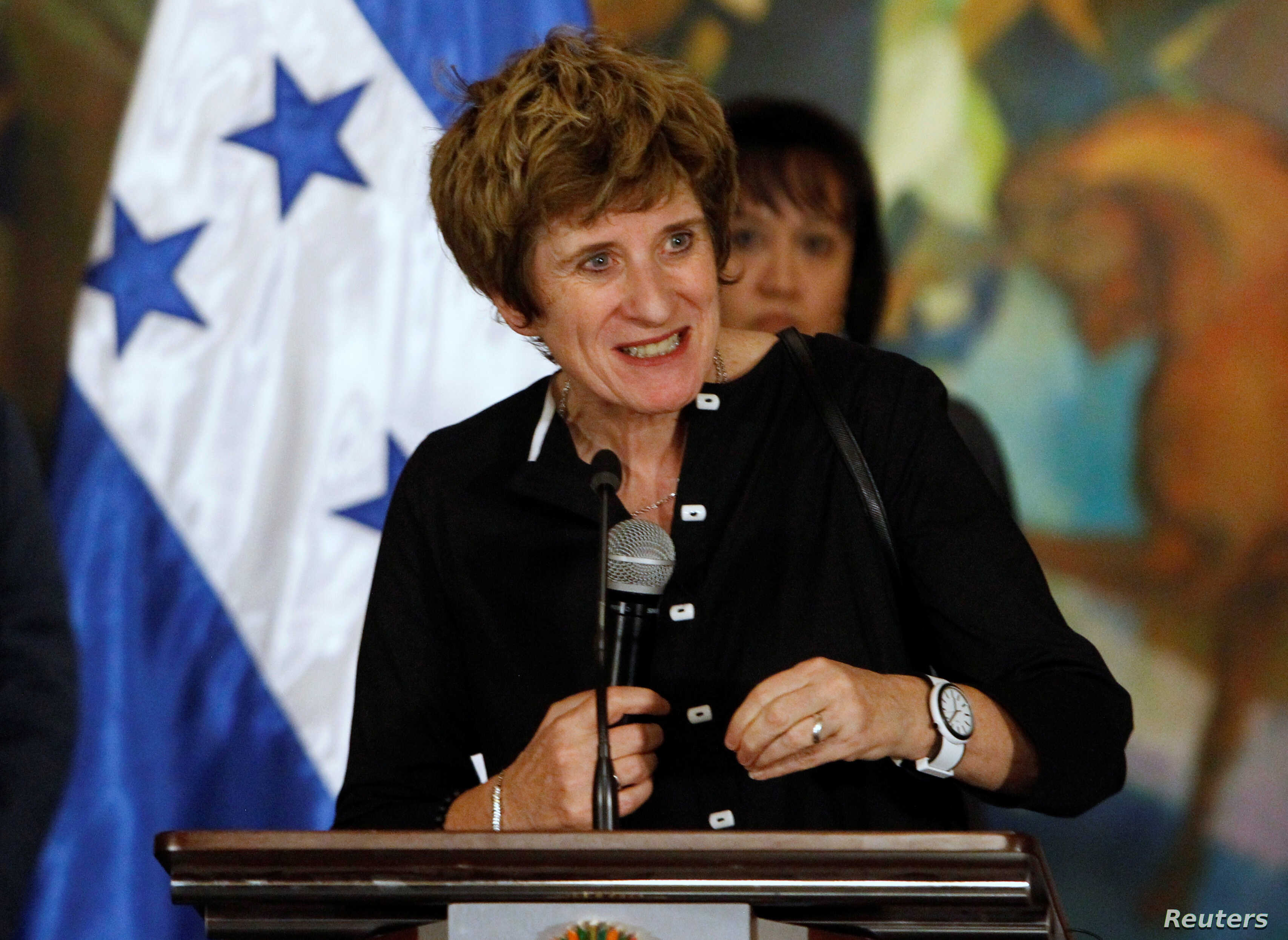 FILE - United Nation Deputy High Commissioner for Human Rights Kate Gilmore during a news conference at the presidential palace in Tegucigalpa, Honduras, Nov. 23, 2016.