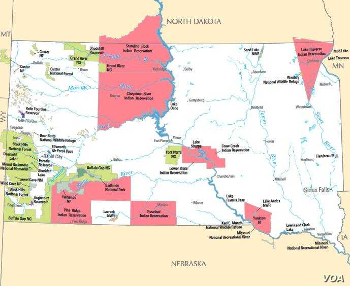 Map of South Dakota Indian Reservations. Crow Creek can be seen, center, on the eastern banks of the Missouri River.