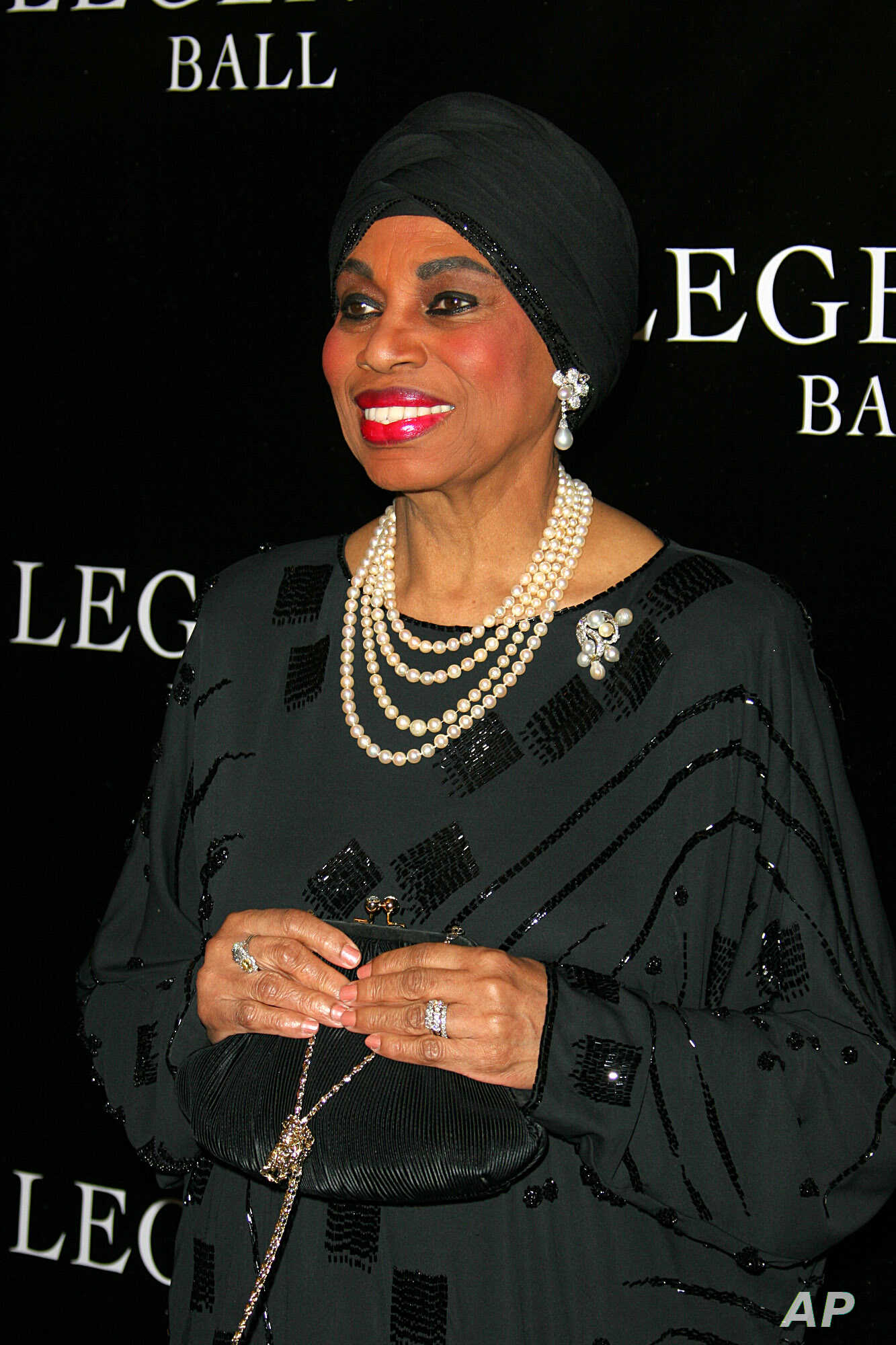 FILE - Opera singer Leontyne Price arrives at the Legends Ball, an award ceremony honoring her and 18 other women who paved the way in arts, entertainment and civil rights, in Santa Barbara, Calif., May 14, 2005.