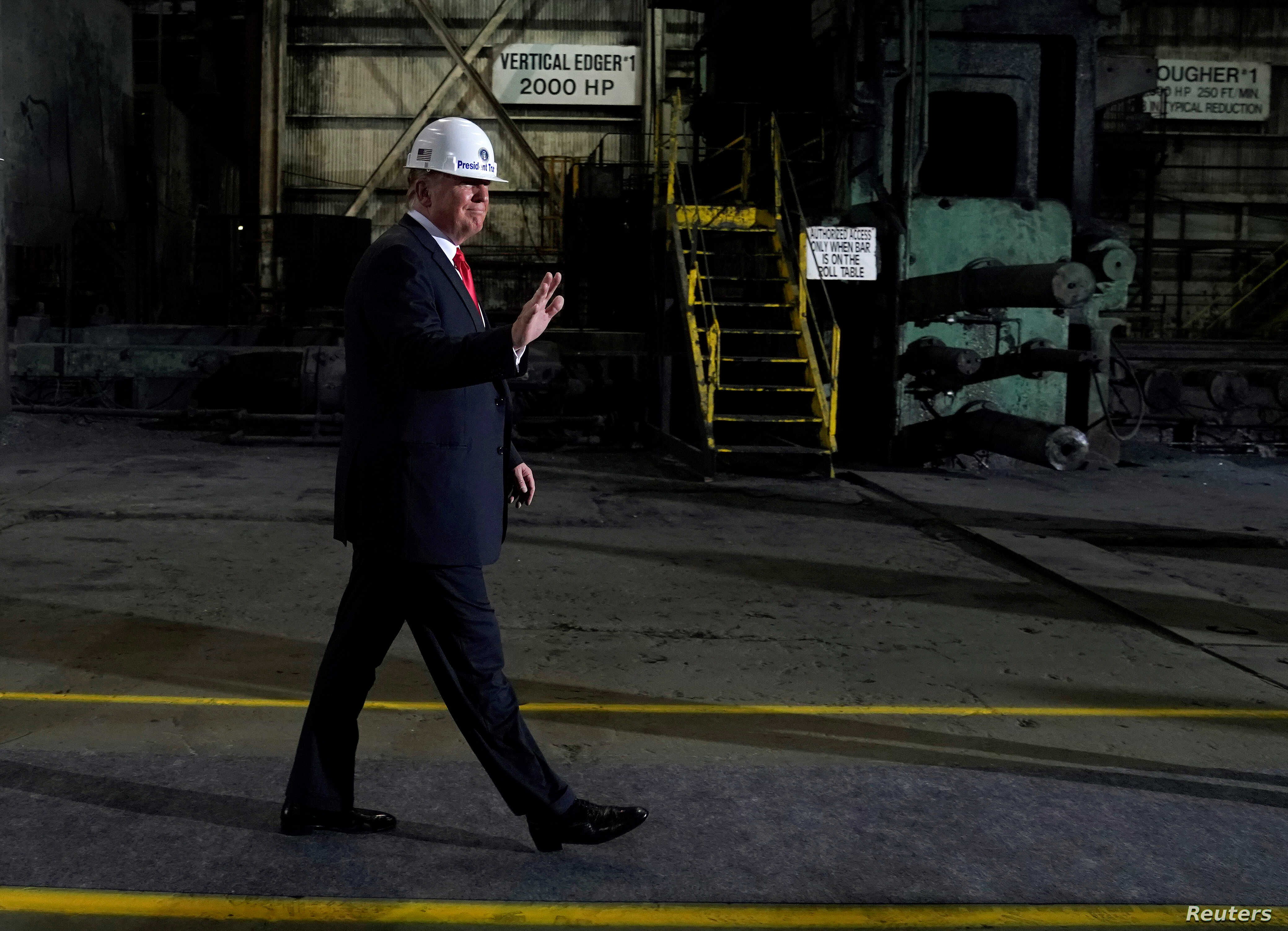 U.S. President Donald Trump tours the Granite City Works hot strip steel mill in Granite City, Illinois, U.S., July 26, 2018.