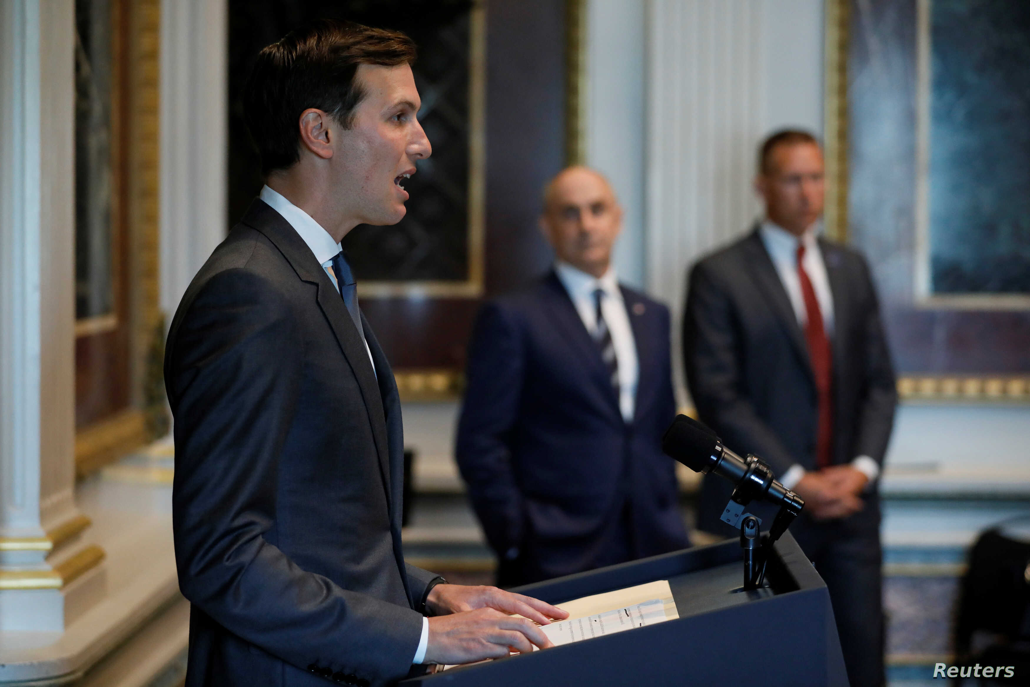 White House senior adviser Jared Kushner welcomes technology company leaders to a summit of the American Technology Council at the Eisenhower Executive Office Building in Washington, U.S. June 19, 2017.