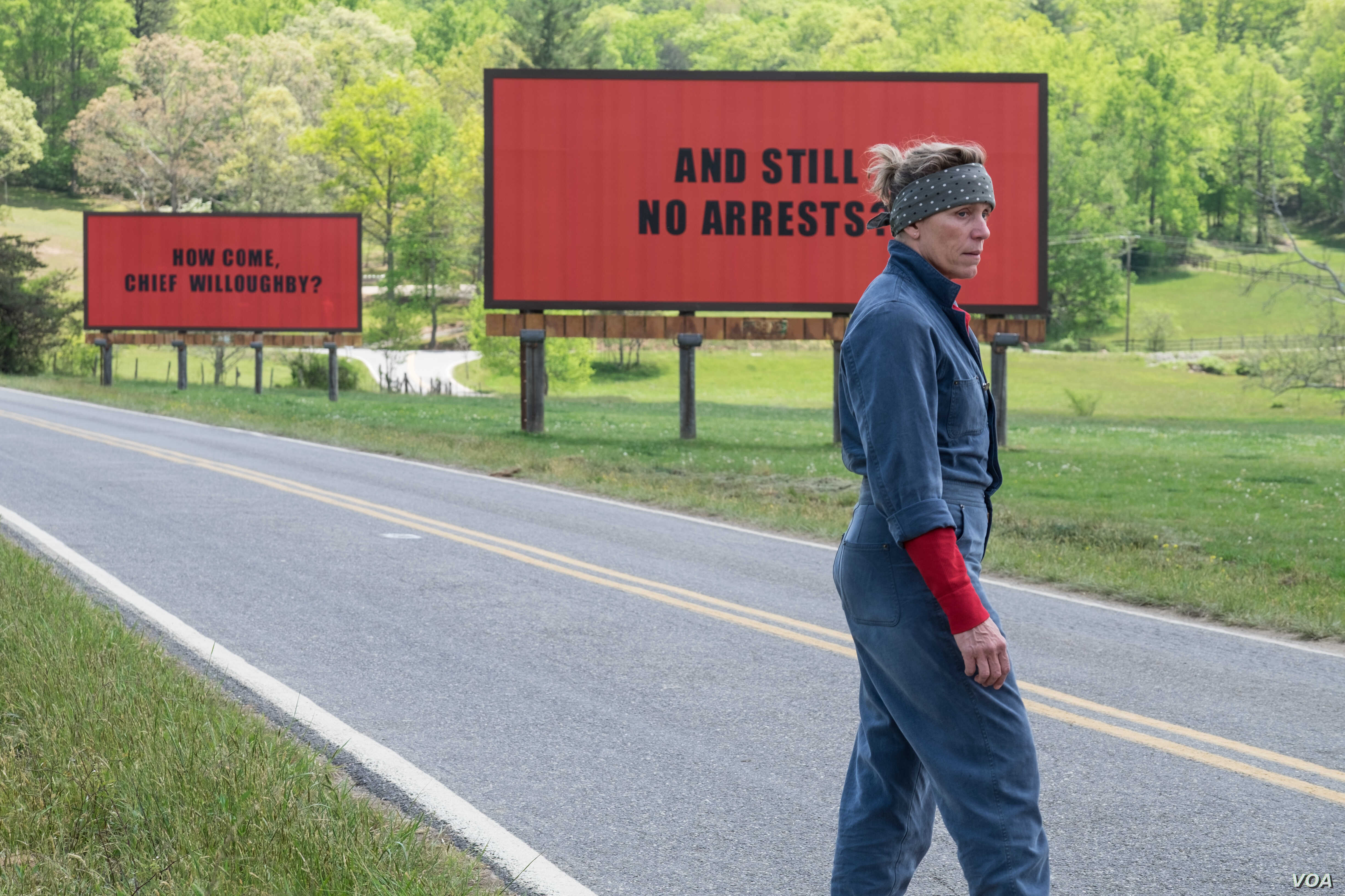 """Frances McDormand stars as a mother who goes to war with police in her town after her daughter's murder in the film, """"Three Billboards Outside Ebbing, Missouri.''"""