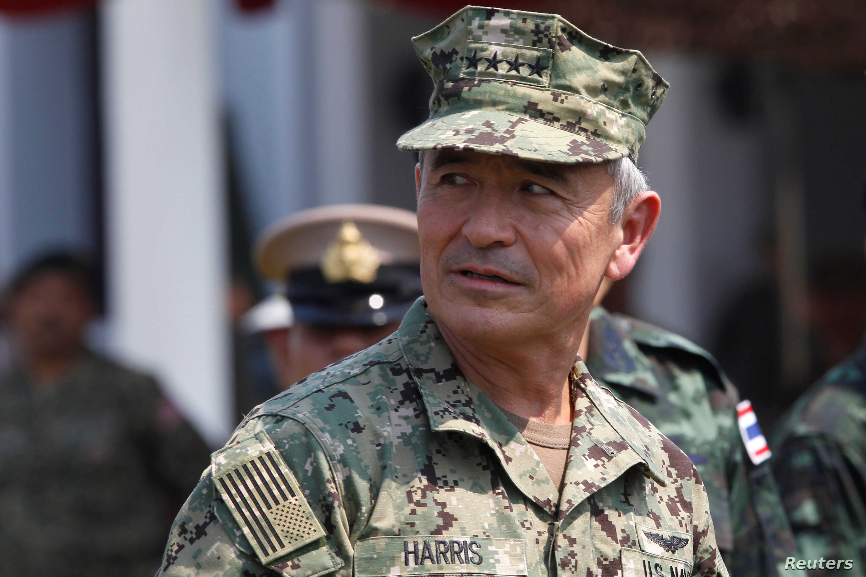 FILE - U.S. Admiral Harry Harris, commander of the Pacific Command attends the opening ceremony of the Asia-Pacific multilateral military exercise known as Cobra Gold, at Sattahip Royal Thai Marine Corps Base in Chonburi, Thailand, Feb. 14, 2017.