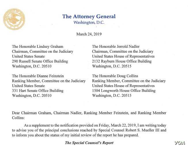 Evidence Bears Out Congressional Intent >> Ag Barr S Letter Summarizing Special Counsel S Report Voice Of