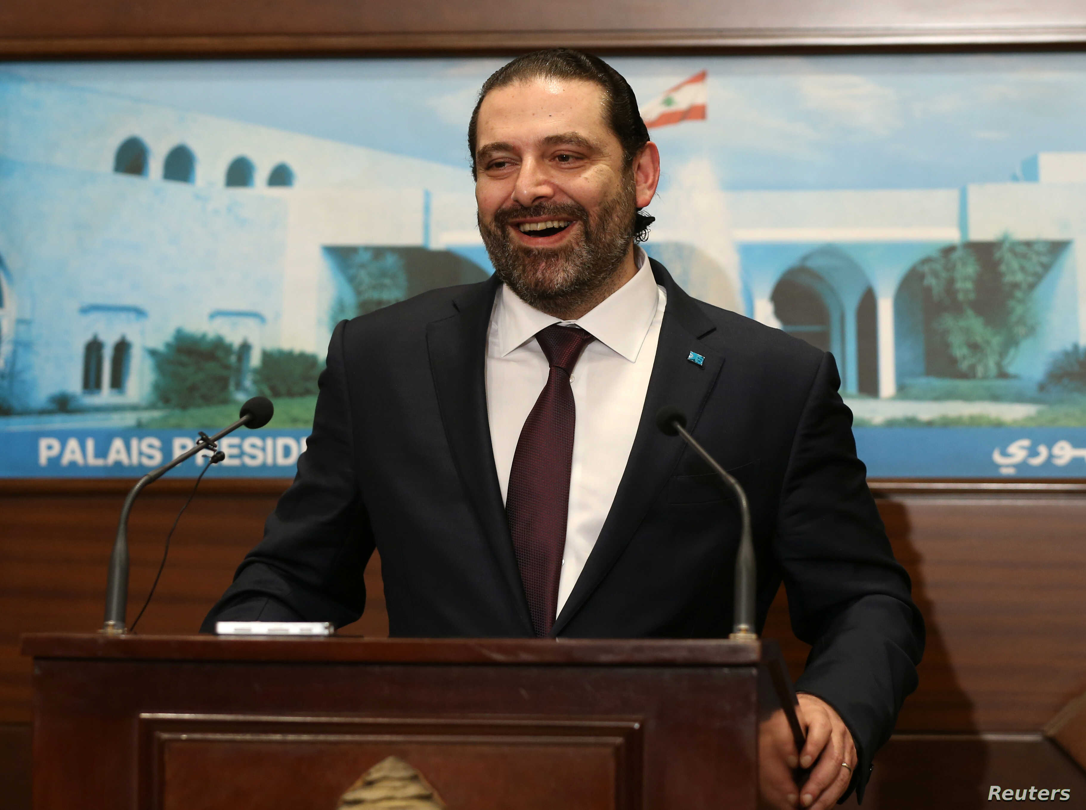 Lebanon's Prime Minister Saad al-Hariri reacts, after the announcement of the new government at the presidential palace in Baabda, Lebanon, Jan. 31, 2019.