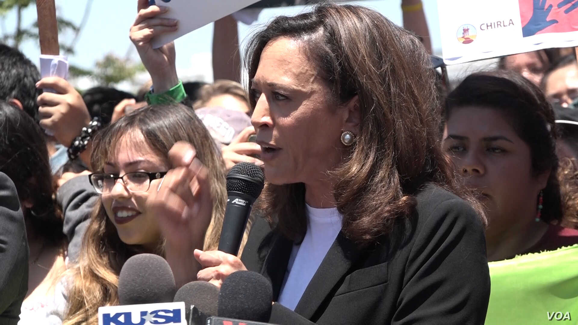"""""""Senator Kamala Harris (D-California) visited mothers held in the Immigration and Customs Enforcement detention center in Otay Mesa, California, and then spoke at a protest rally outside the facility, telling protesters that the mothers inside the fa..."""