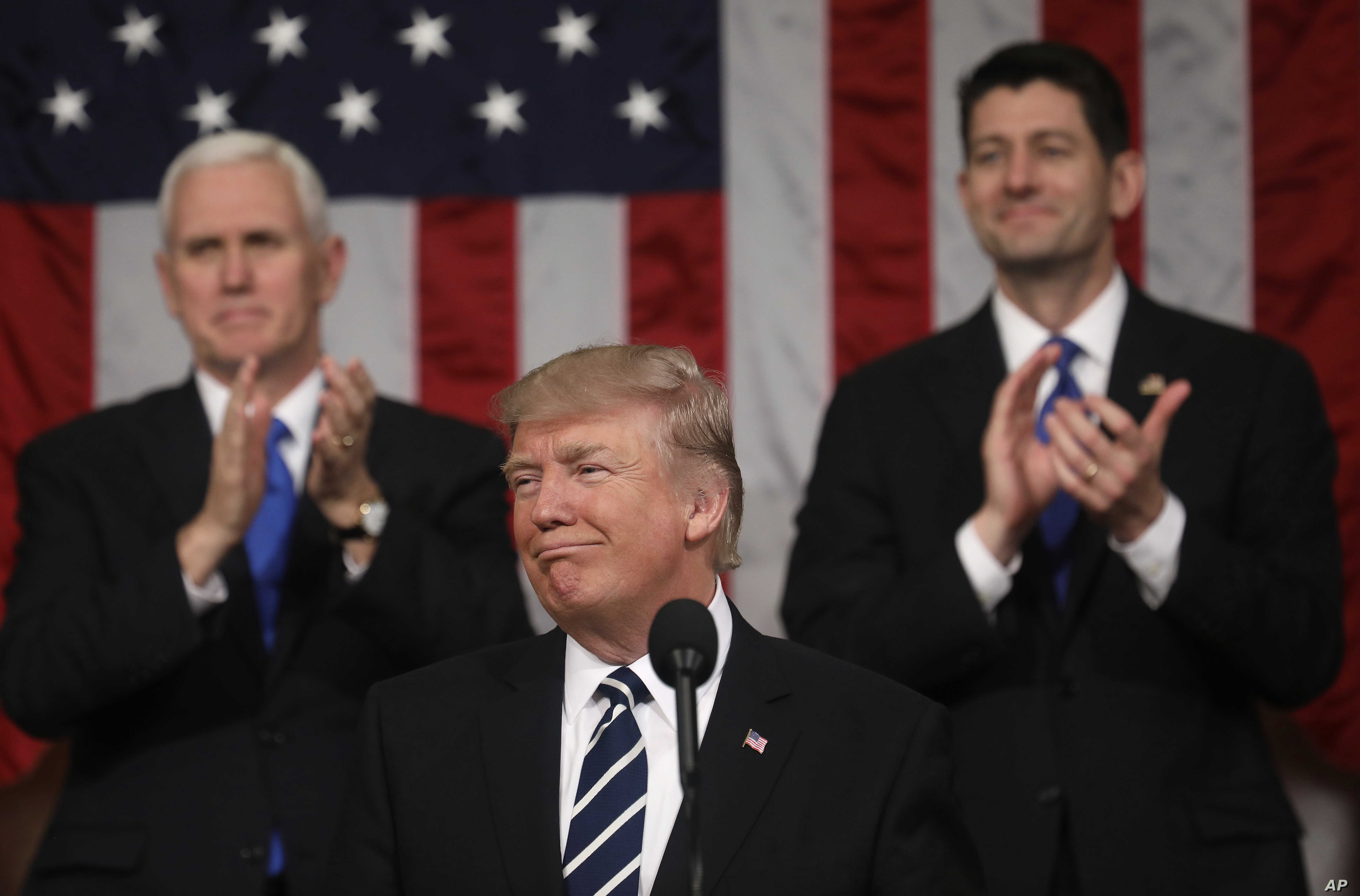 President Donald Trump addresses a joint session of Congress on Capitol Hill in Washington, Feb. 28, 2017.