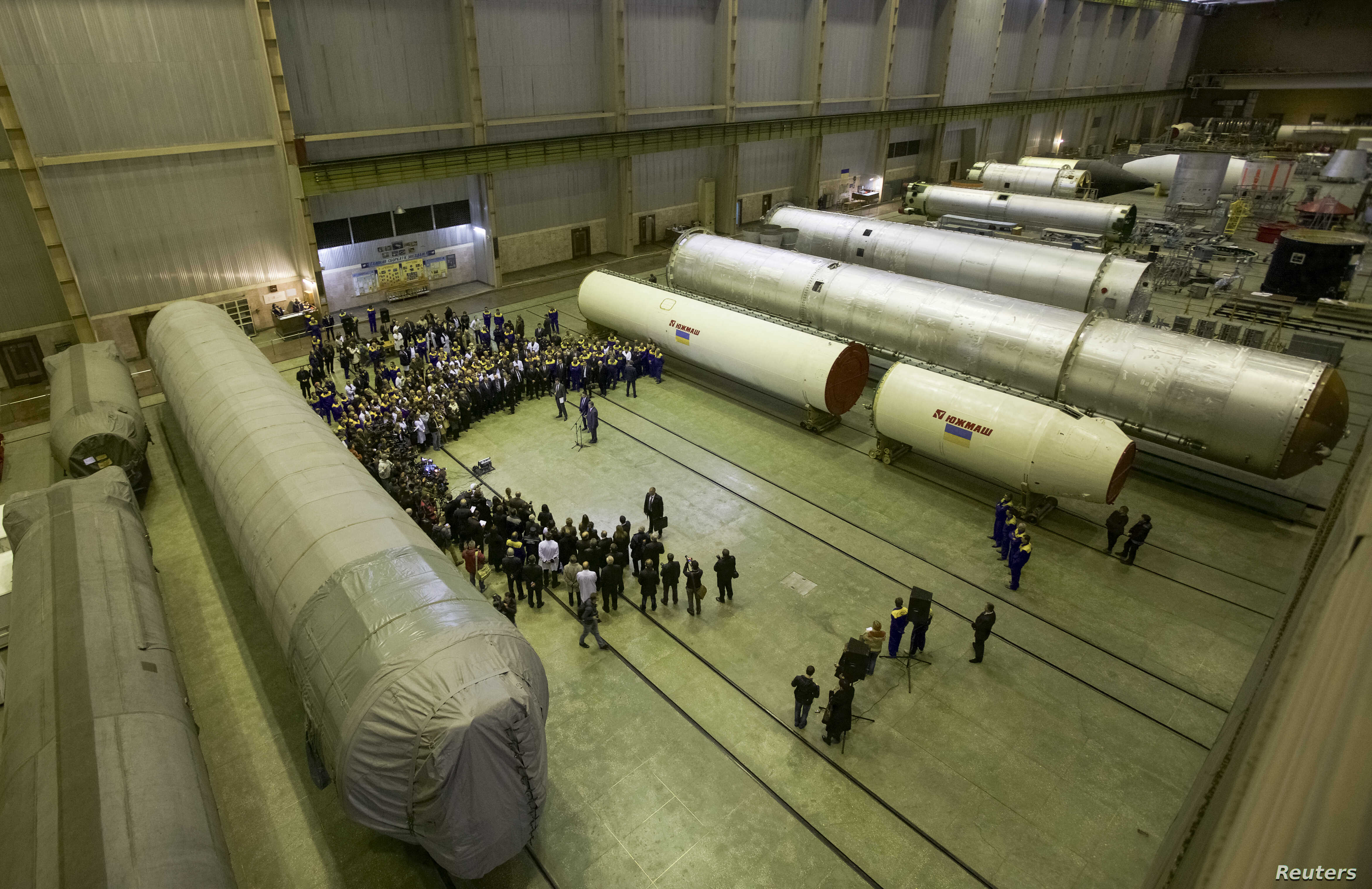 FILE - A general view shows one of the work facilities of Ukrainian state-owned aerospace company Yuzhmash in Dnipro (formerly Dnipropetrovsk), Ukraine, Oct. 21, 2014.