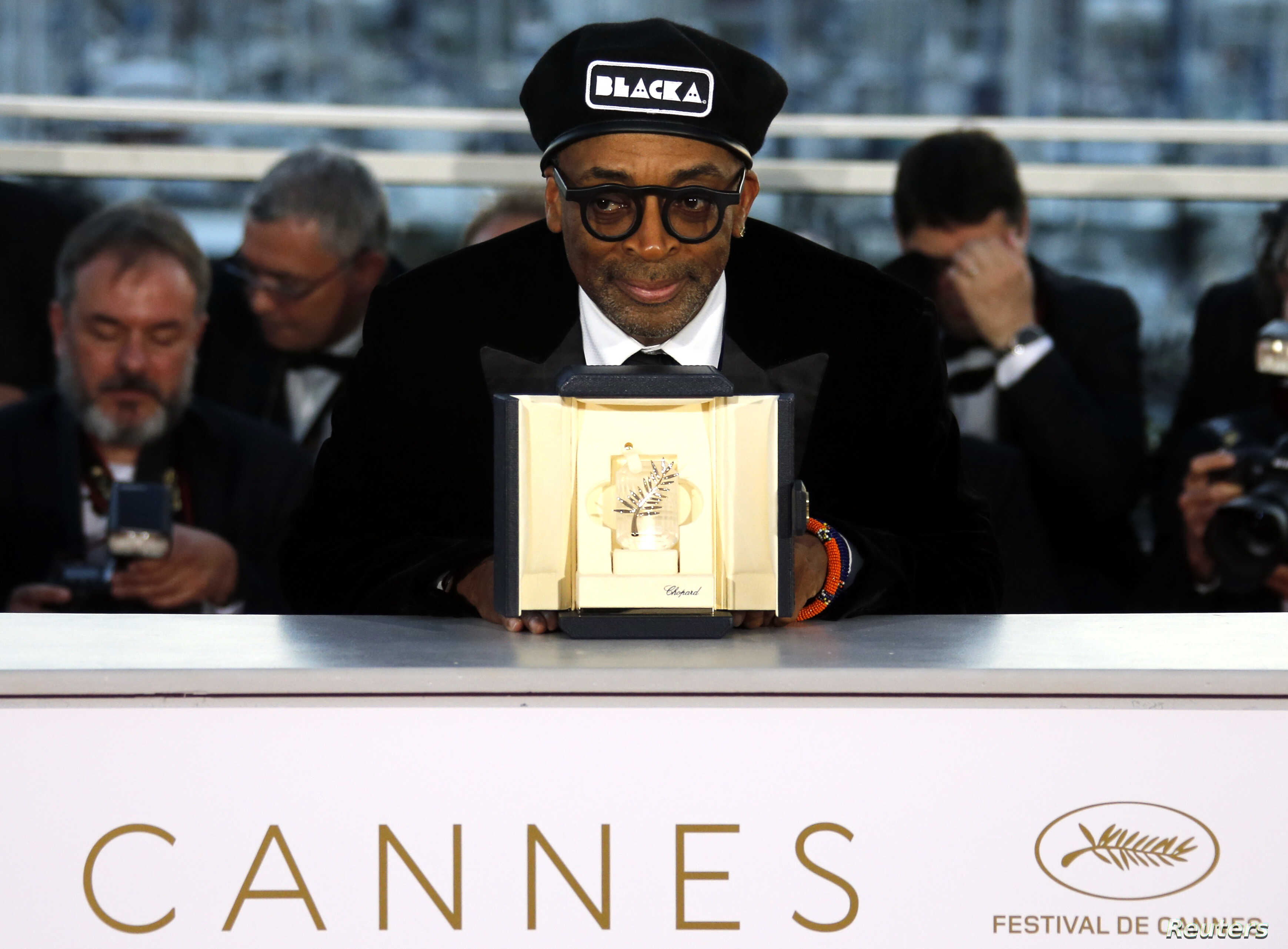 """Director Spike Lee, Grand Prix award winner for his film """"BlacKkKlansman,"""" poses after the closing ceremony of the 71st Cannes Film Festival, Cannes, France, May 19, 2018."""