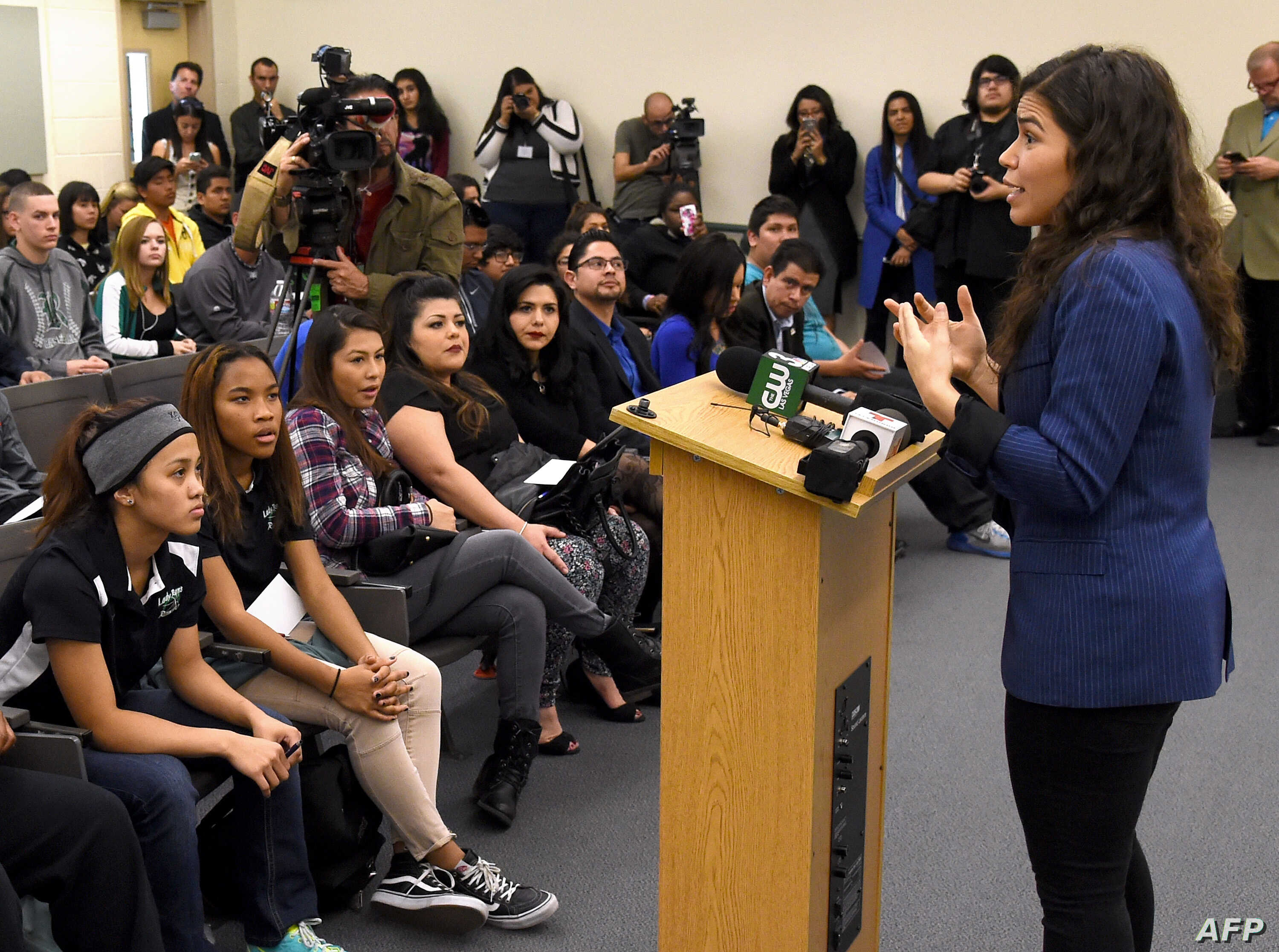 FILE - Actress America Ferrera talks to students at Rancho High School as she partners with Voto Latino to discuss the importance of young voters, including Latinos, participating in the civic process on February 11, 2016 in North Las Vegas, Nevada.