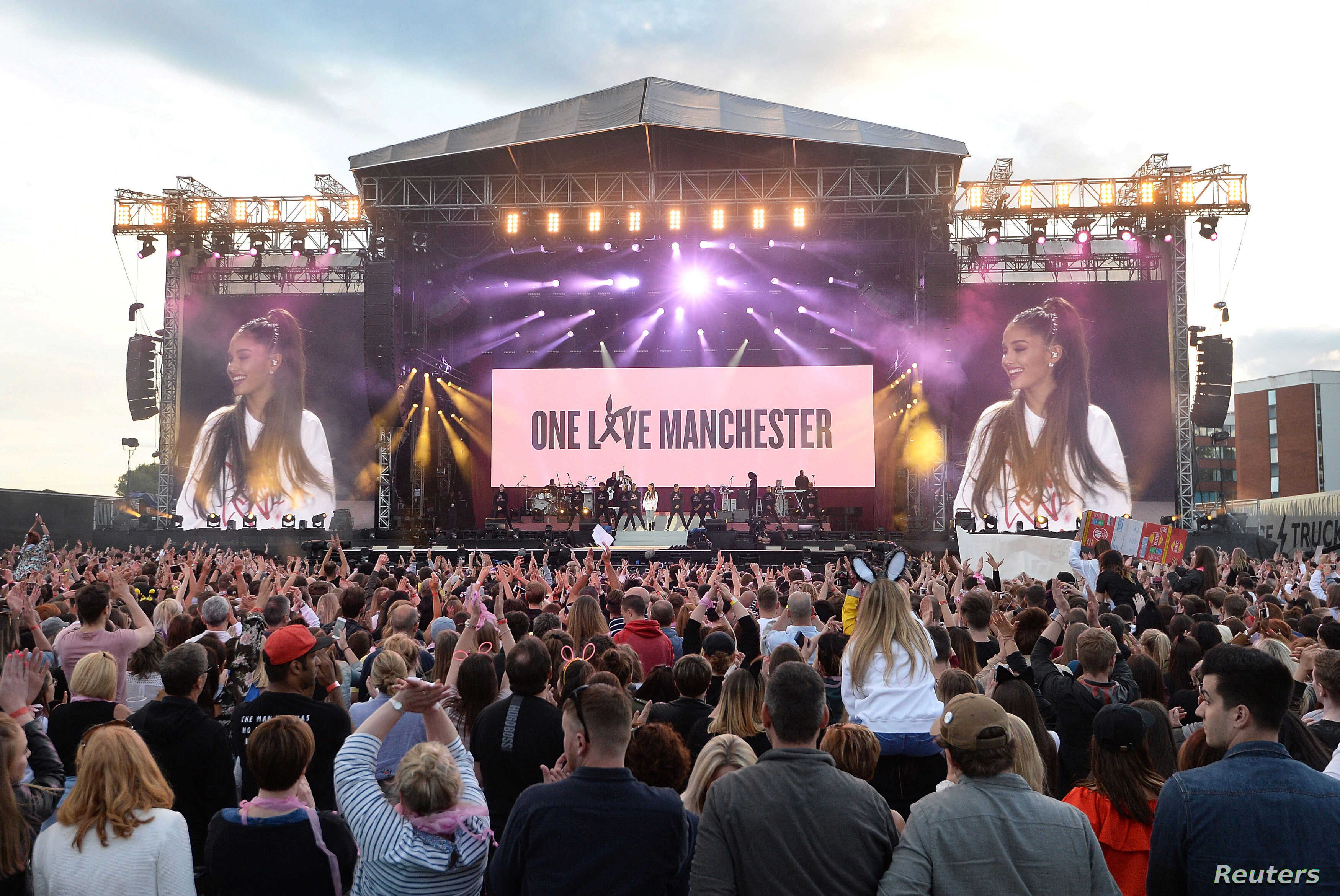 Ariana Grande performs during the One Love Manchester benefit concert for the victims of the Manchester Arena terror attack at Emirates Old Trafford, Greater Manchester, in Britain, June 4, 2017.