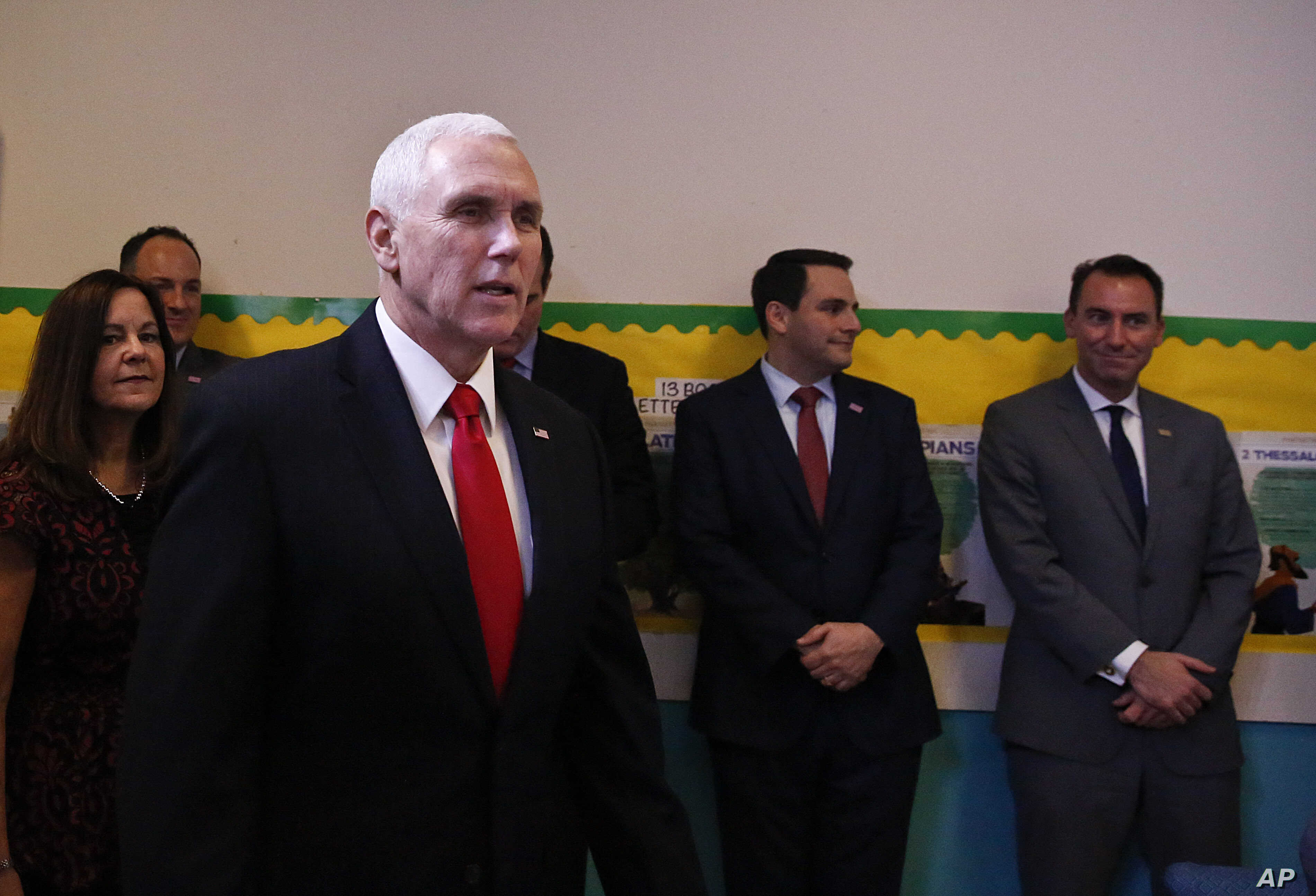 Vice President Mike Pence arrives to speak at Iglesia Doral Jesus Worship Center for a round-table discussion on the political crisis in Venezuela with community leaders in Doral, Fla., Feb. 1, 2019.