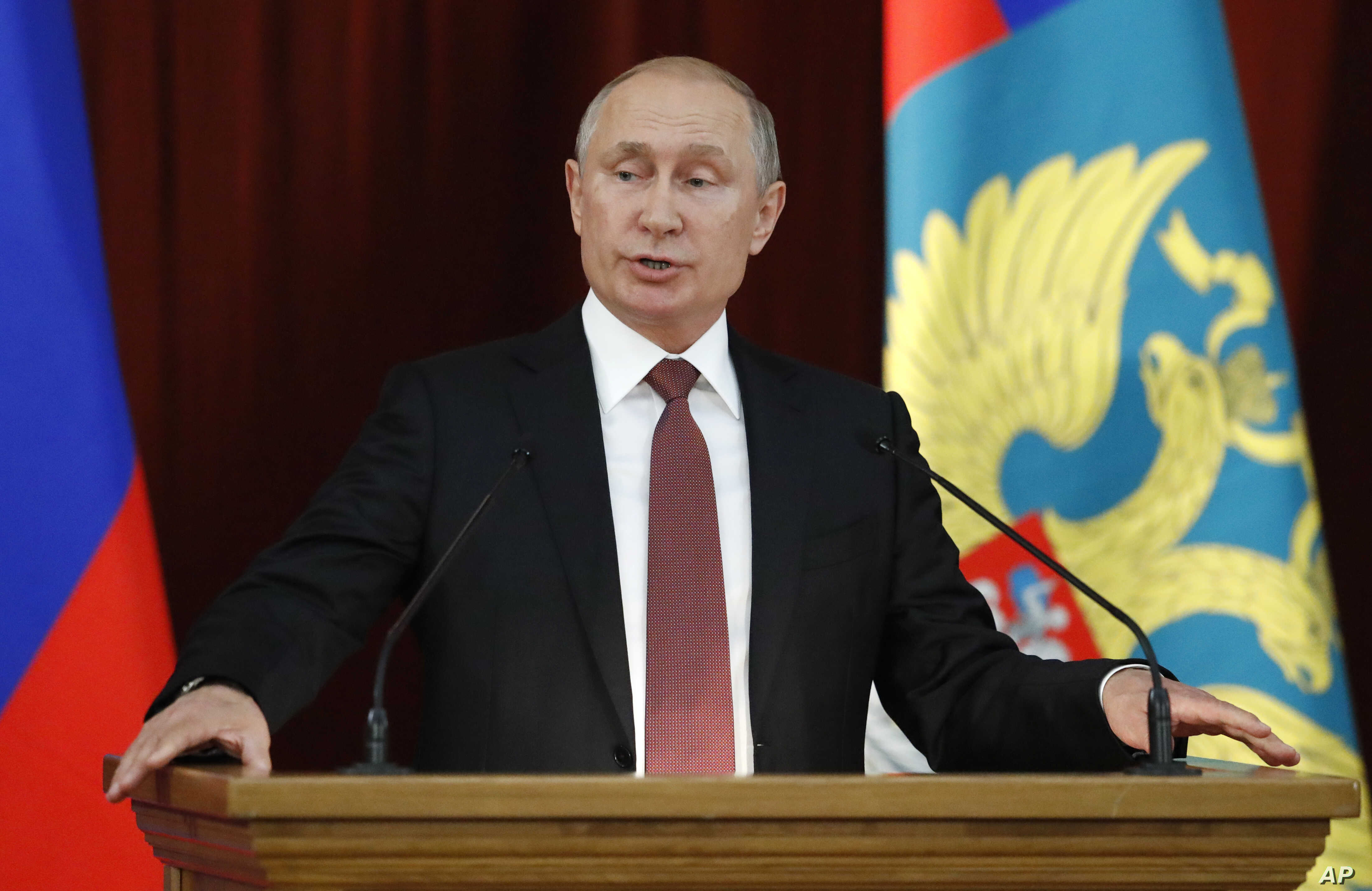 Russian Vladimir Putin speaks during a meeting with Russian ambassadors to foreign countries in Moscow, July 19, 2018.
