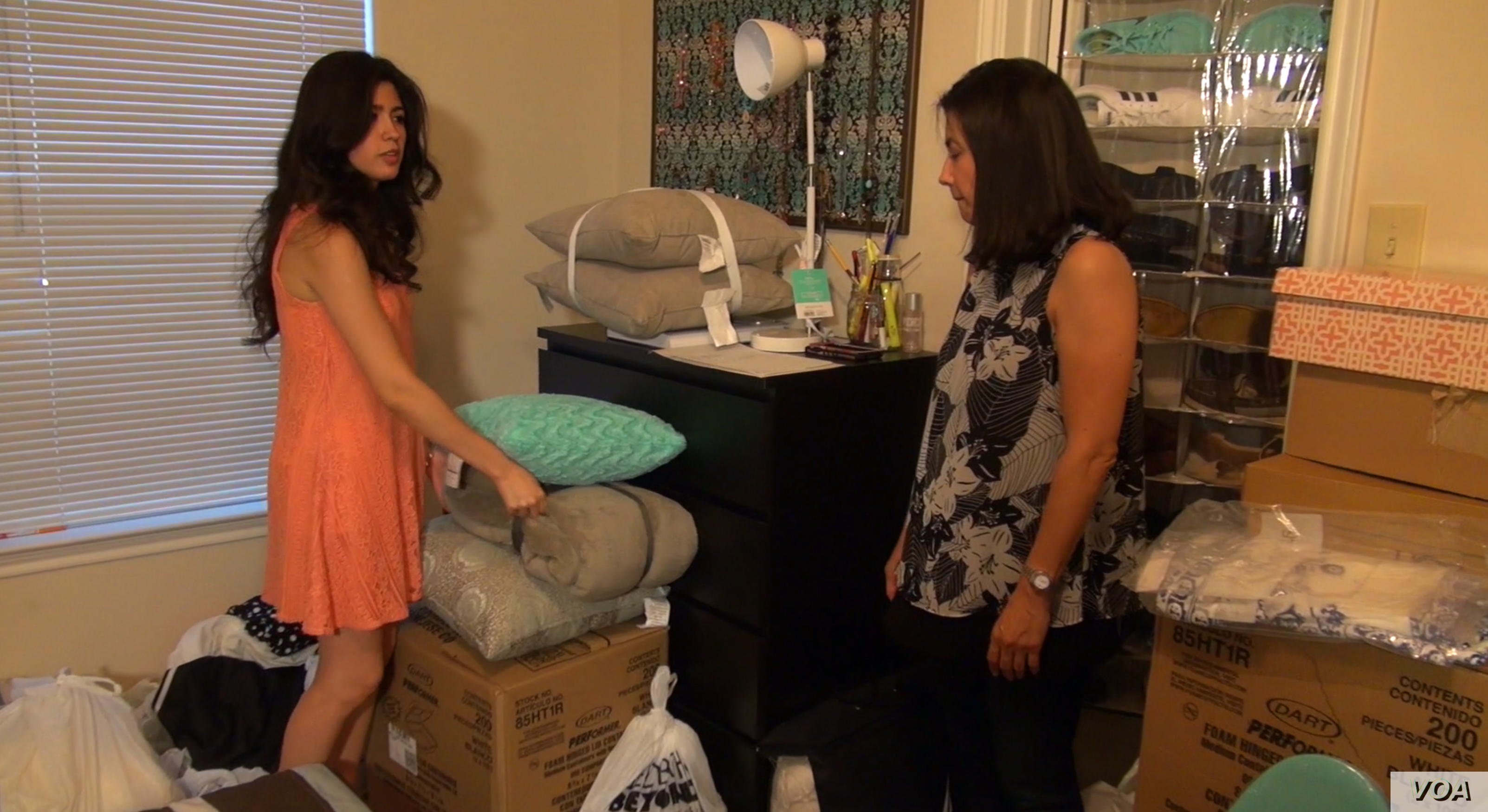 Larissa Martinez starts packing for college.